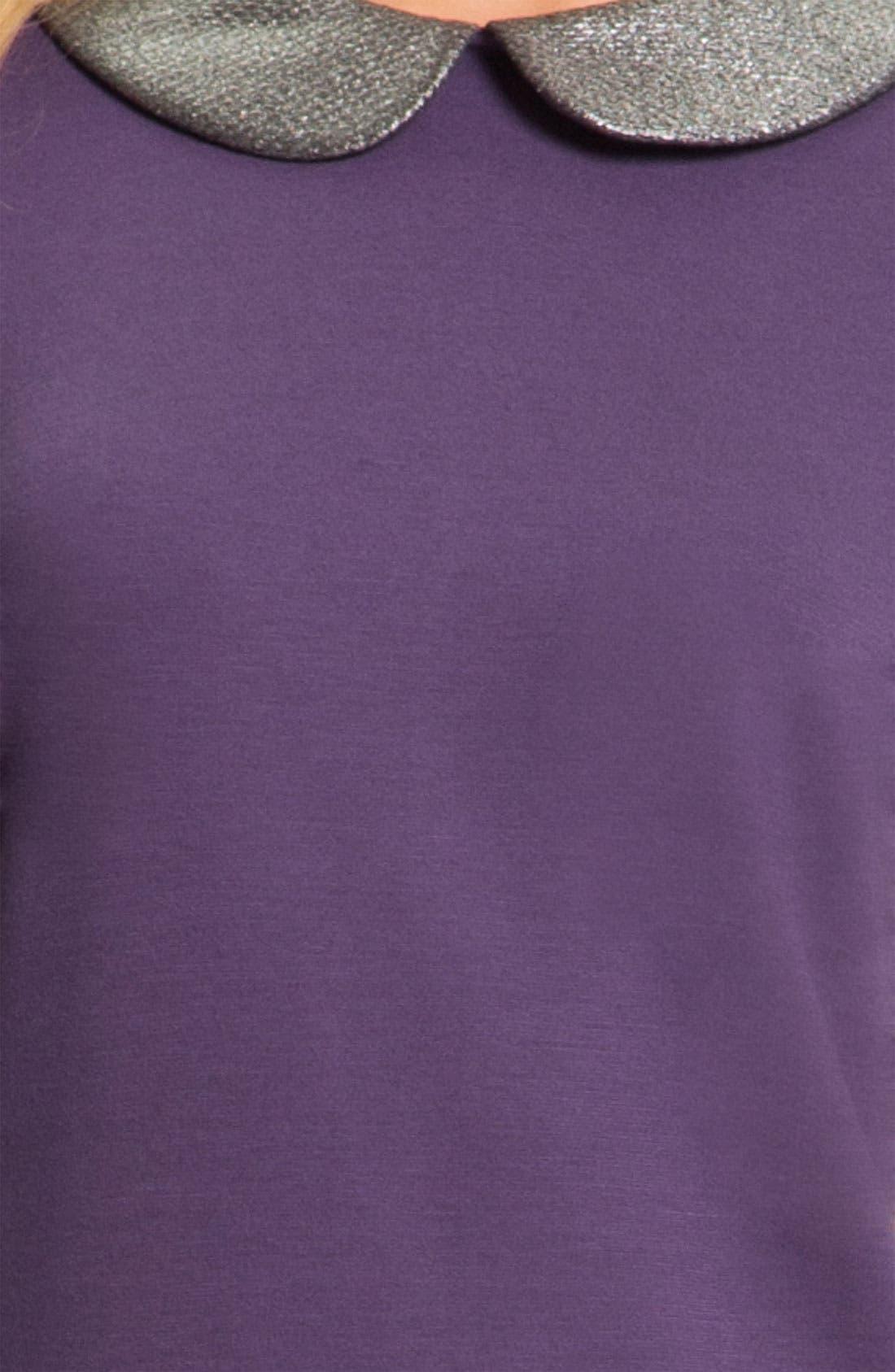 DONNA MORGAN, Metallic Peter Pan Collar Shift Dress, Alternate thumbnail 3, color, 500