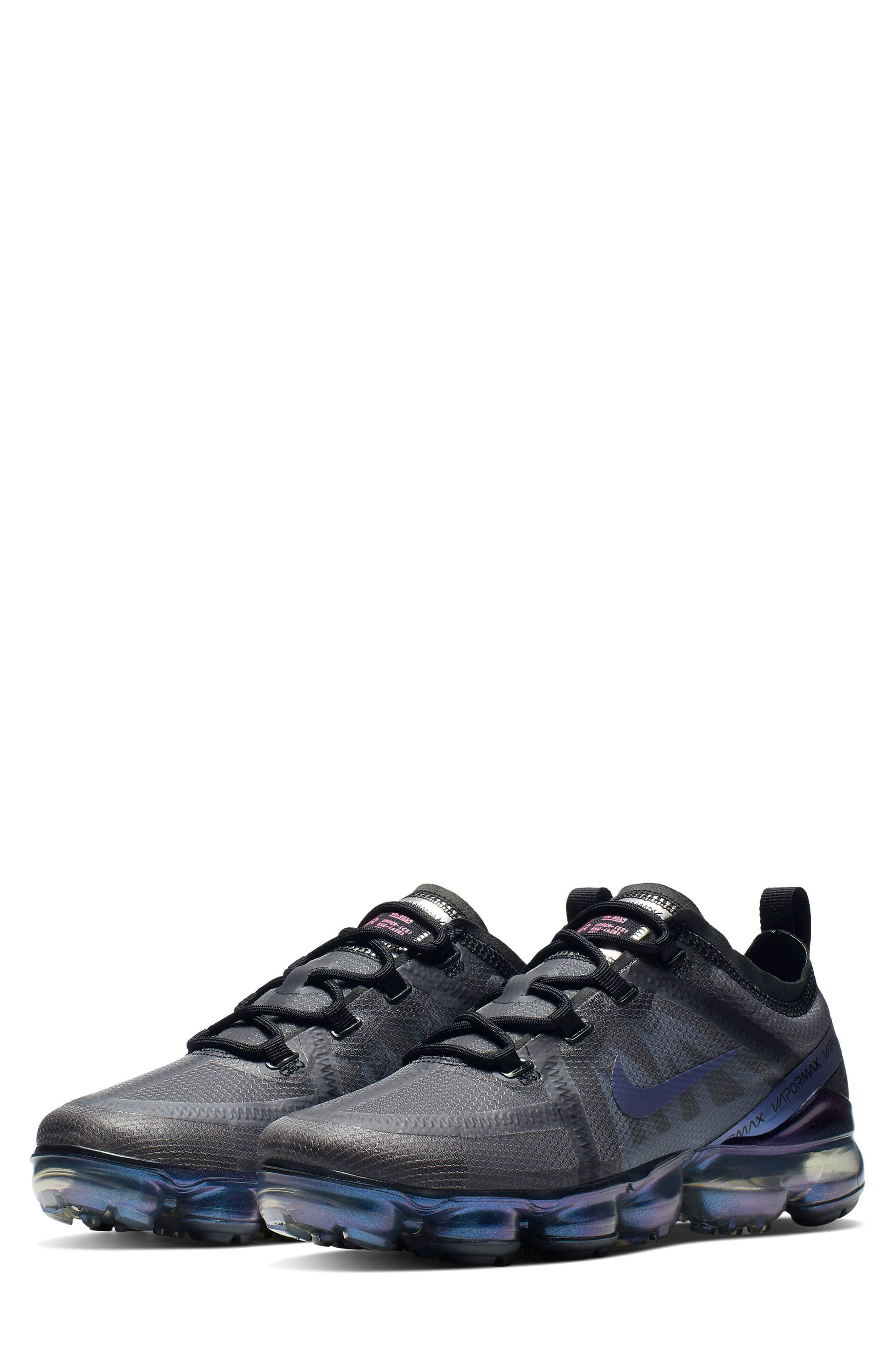 NIKE, Air VaporMax 2019 Running Shoe, Main thumbnail 1, color, BLACK/ MULTI COLOR