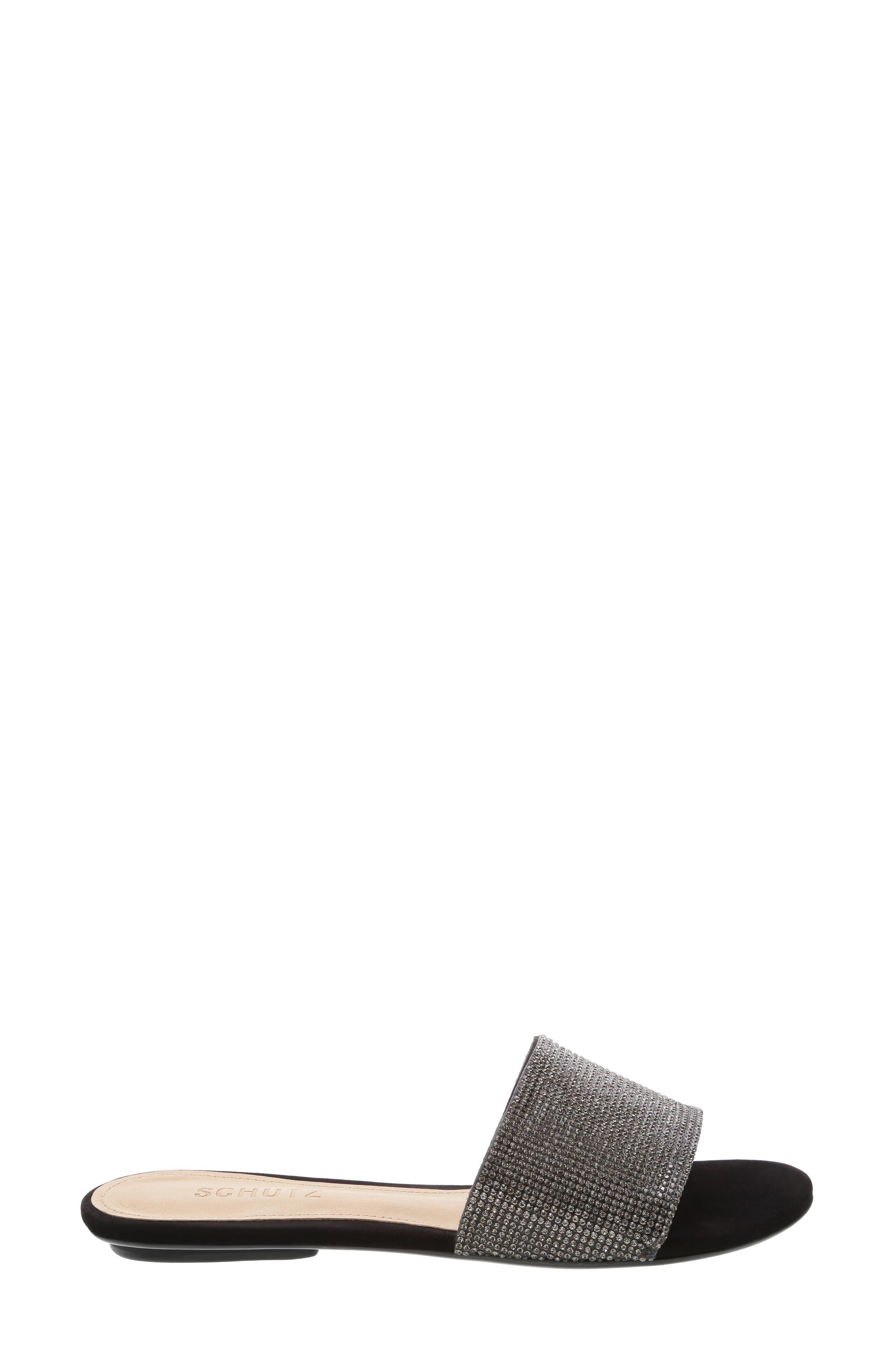 SCHUTZ, Queren Embellished Slide Sandal, Alternate thumbnail 3, color, BLACK/ BLACK DIAMOND FABRIC