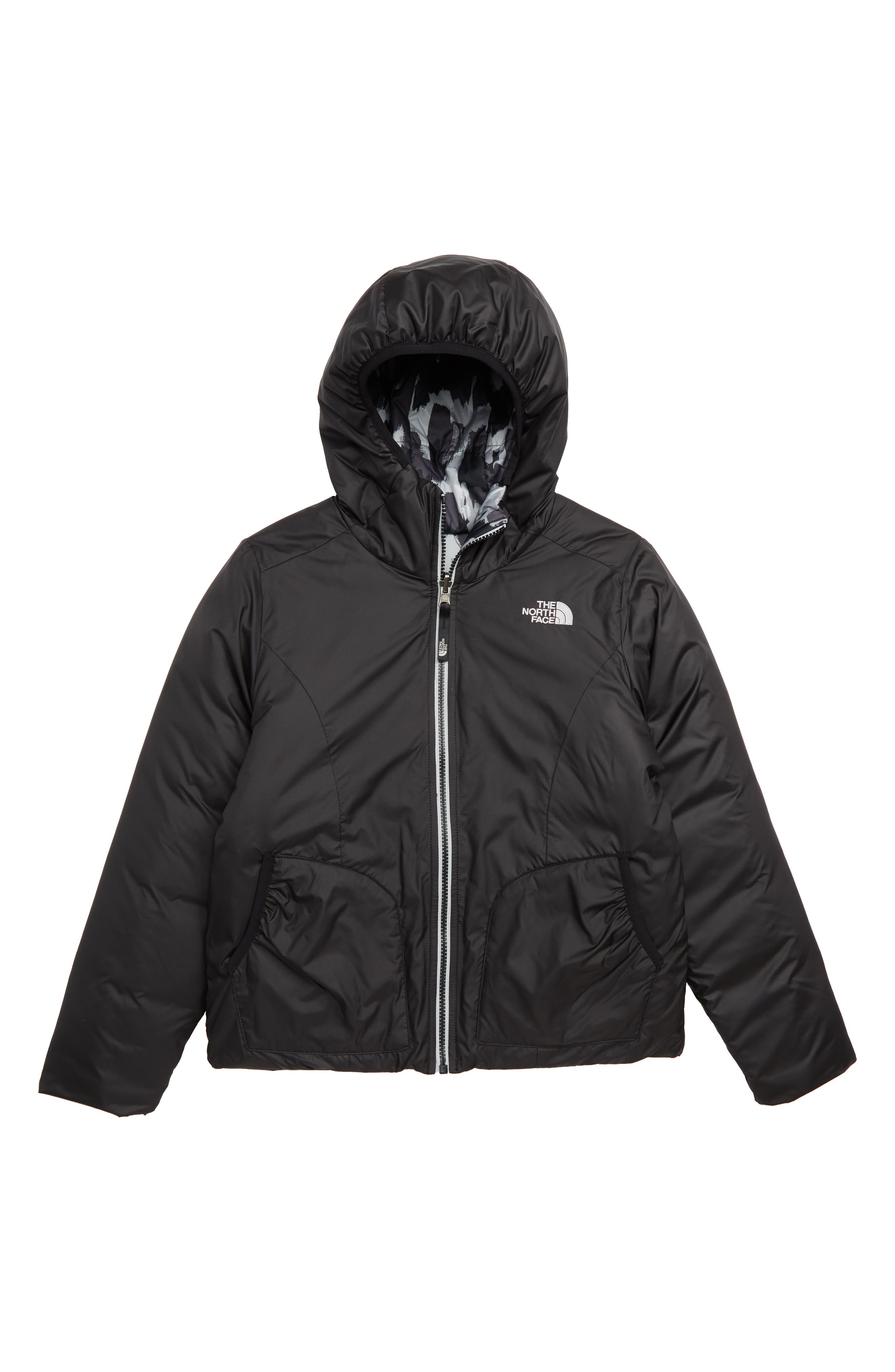THE NORTH FACE, Perrito Reversible Water-Repellent Hooded Jacket, Main thumbnail 1, color, 001