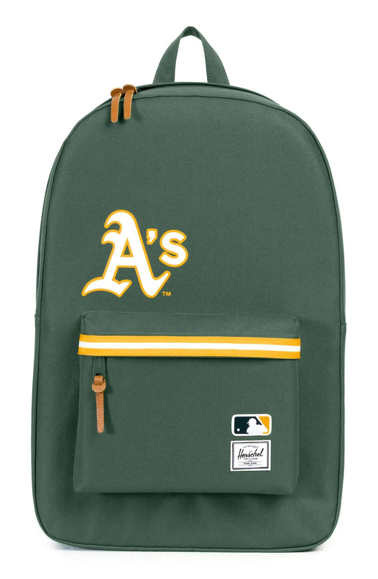 HERSCHEL SUPPLY CO., Heritage - MLB American League Backpack, Main thumbnail 1, color, OAKLAND A