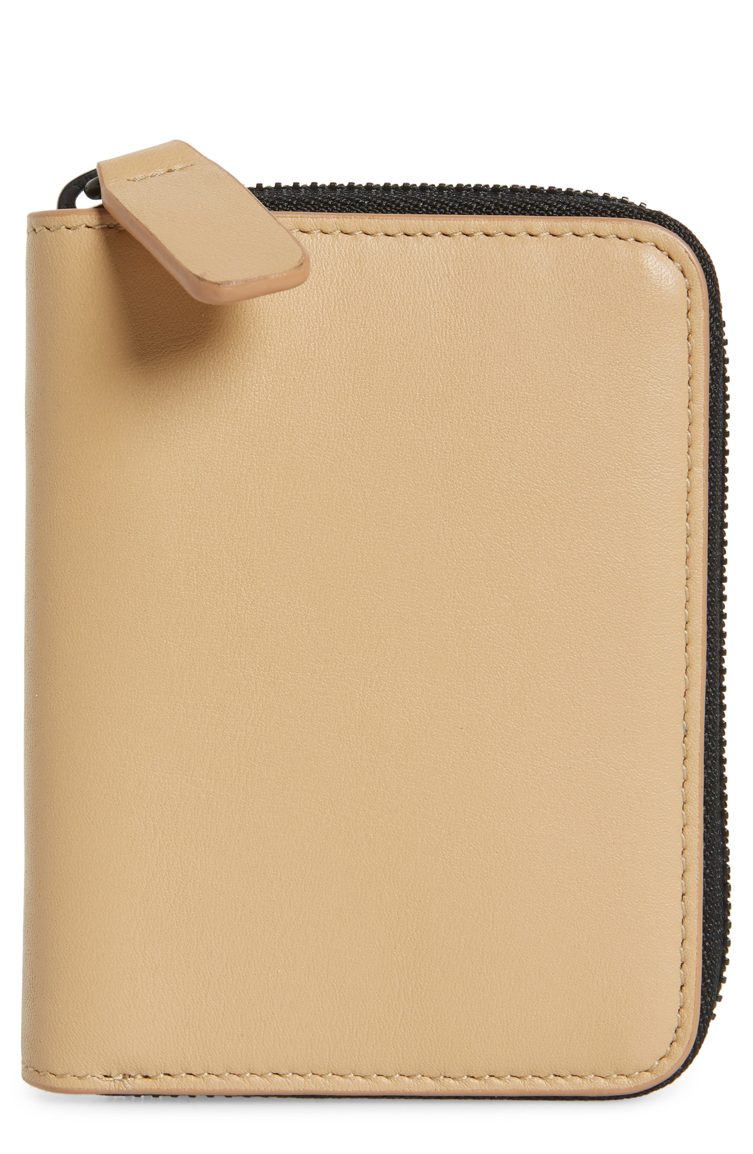 COMMON PROJECTS, Nappa Leather Zip Coin Case, Main thumbnail 1, color, TAN