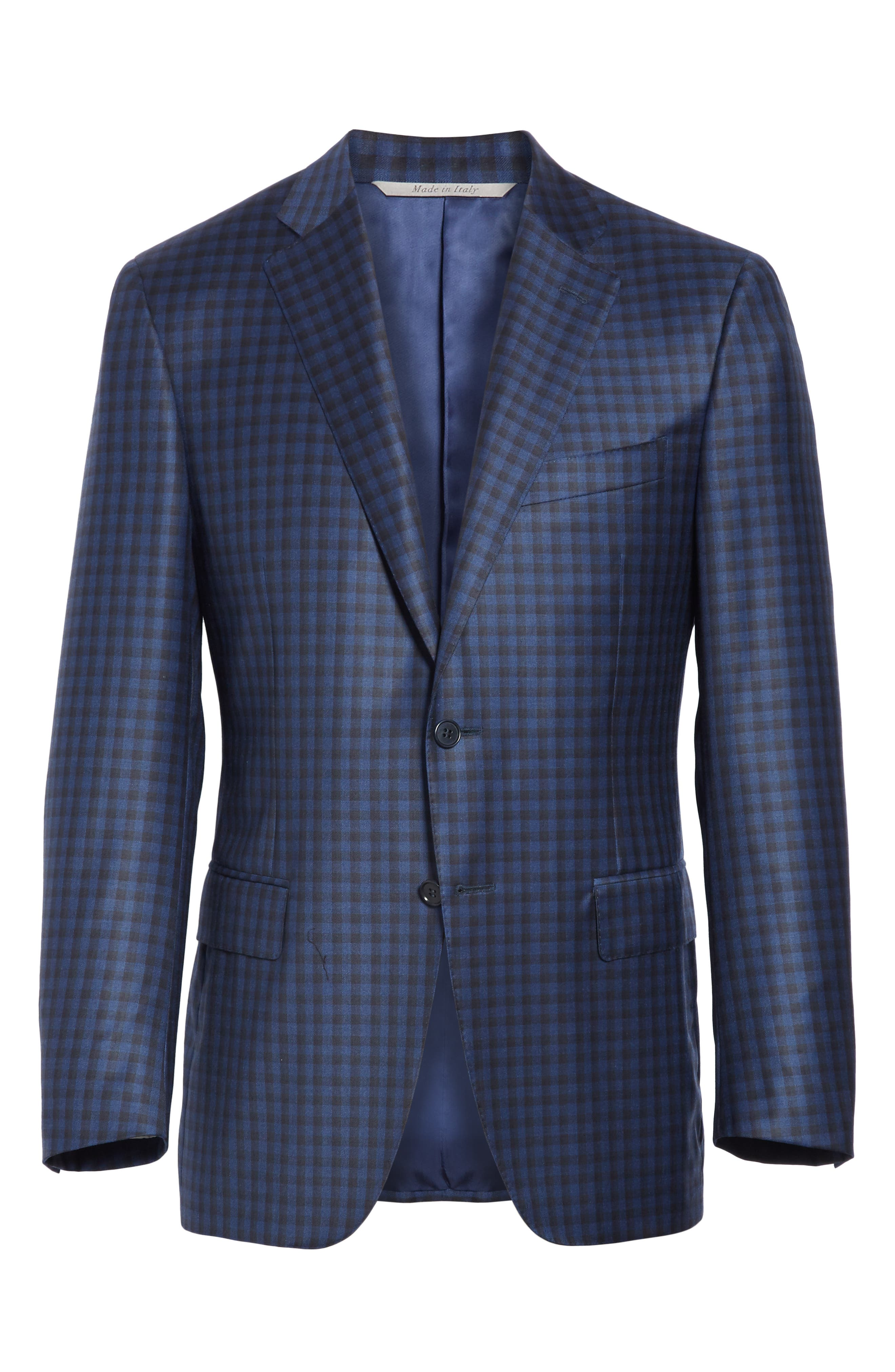 CANALI, Classic Fit Check Wool Sport Coat, Alternate thumbnail 5, color, BLUE