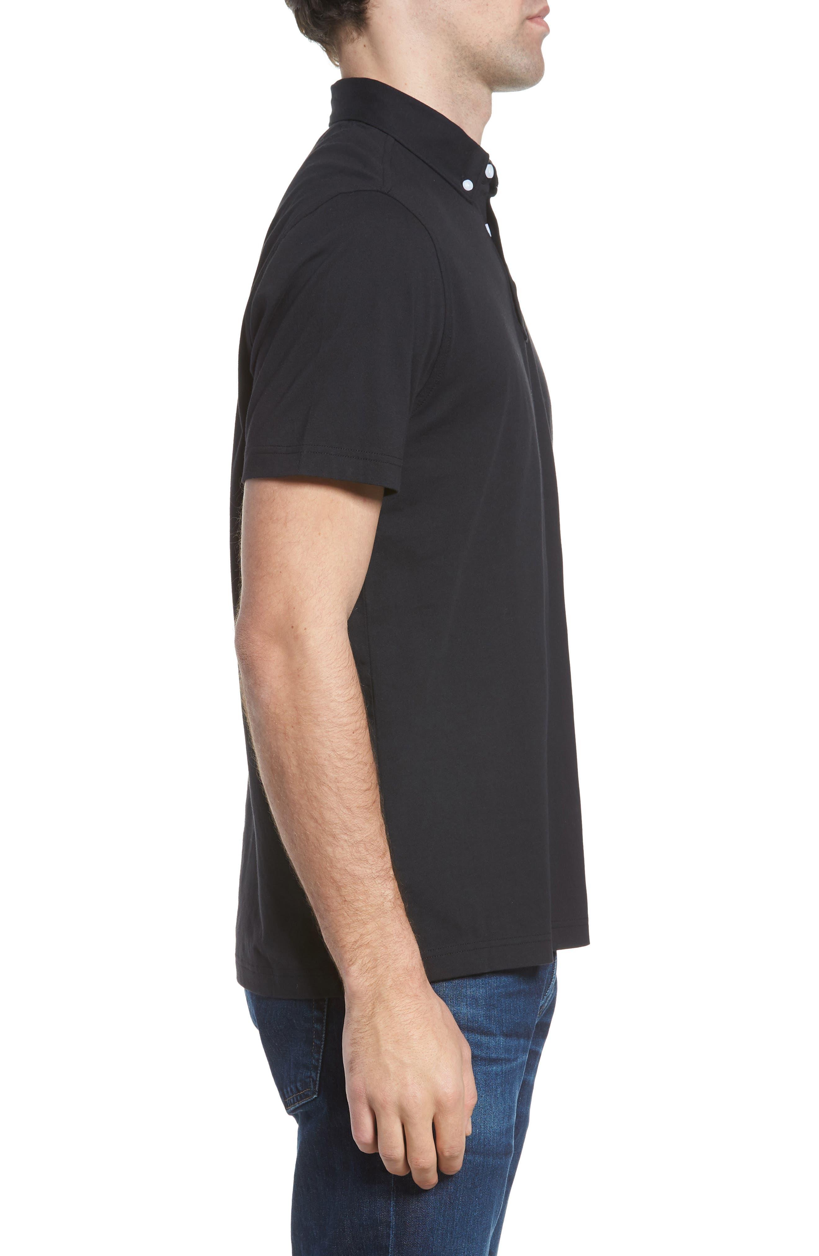 NORDSTROM MEN'S SHOP, Regular Fit Polo, Alternate thumbnail 3, color, BLACK