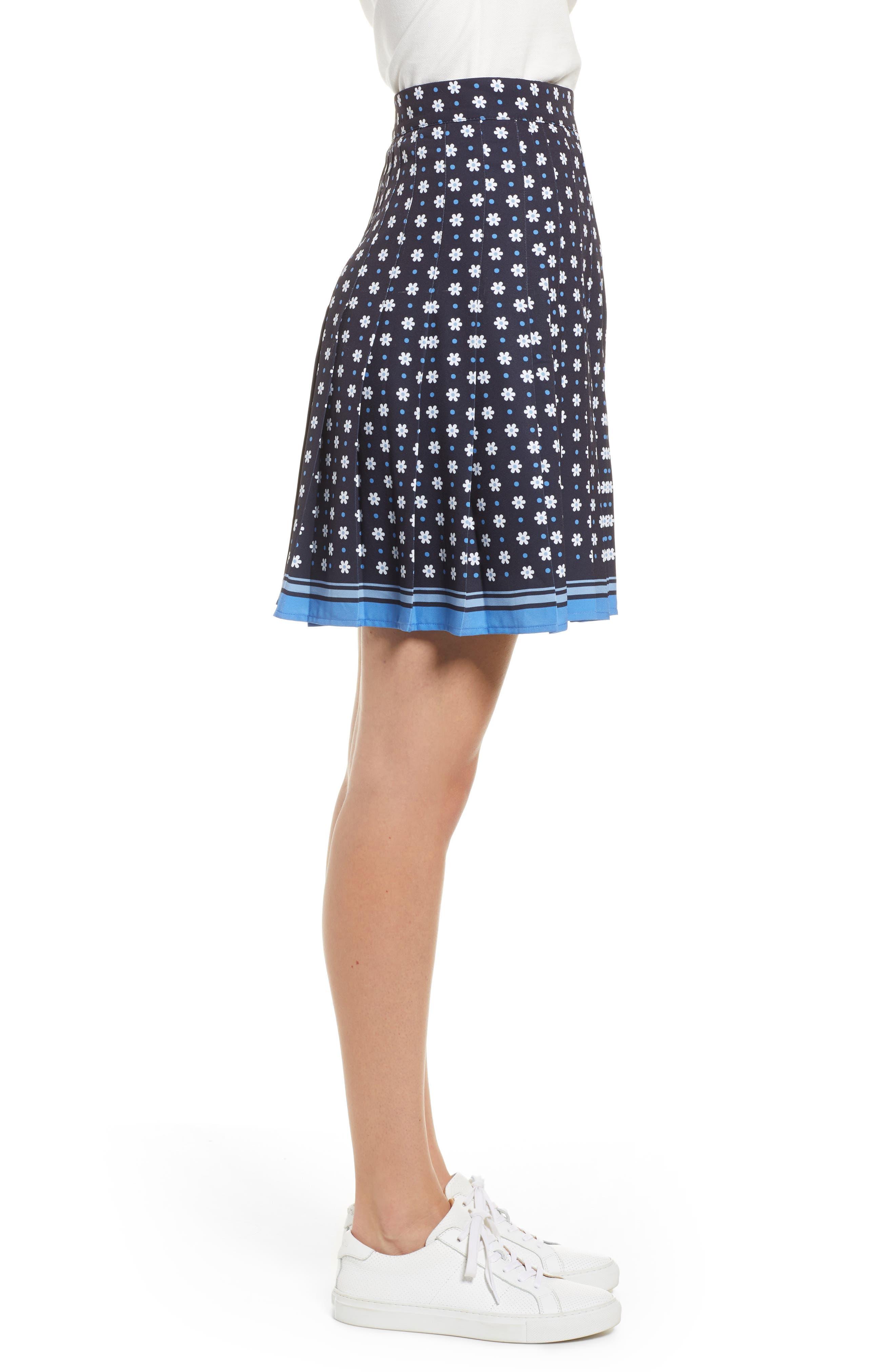 1901, Pleated Tennis Skirt, Alternate thumbnail 3, color, NAVY NIGHT DAISY DOT