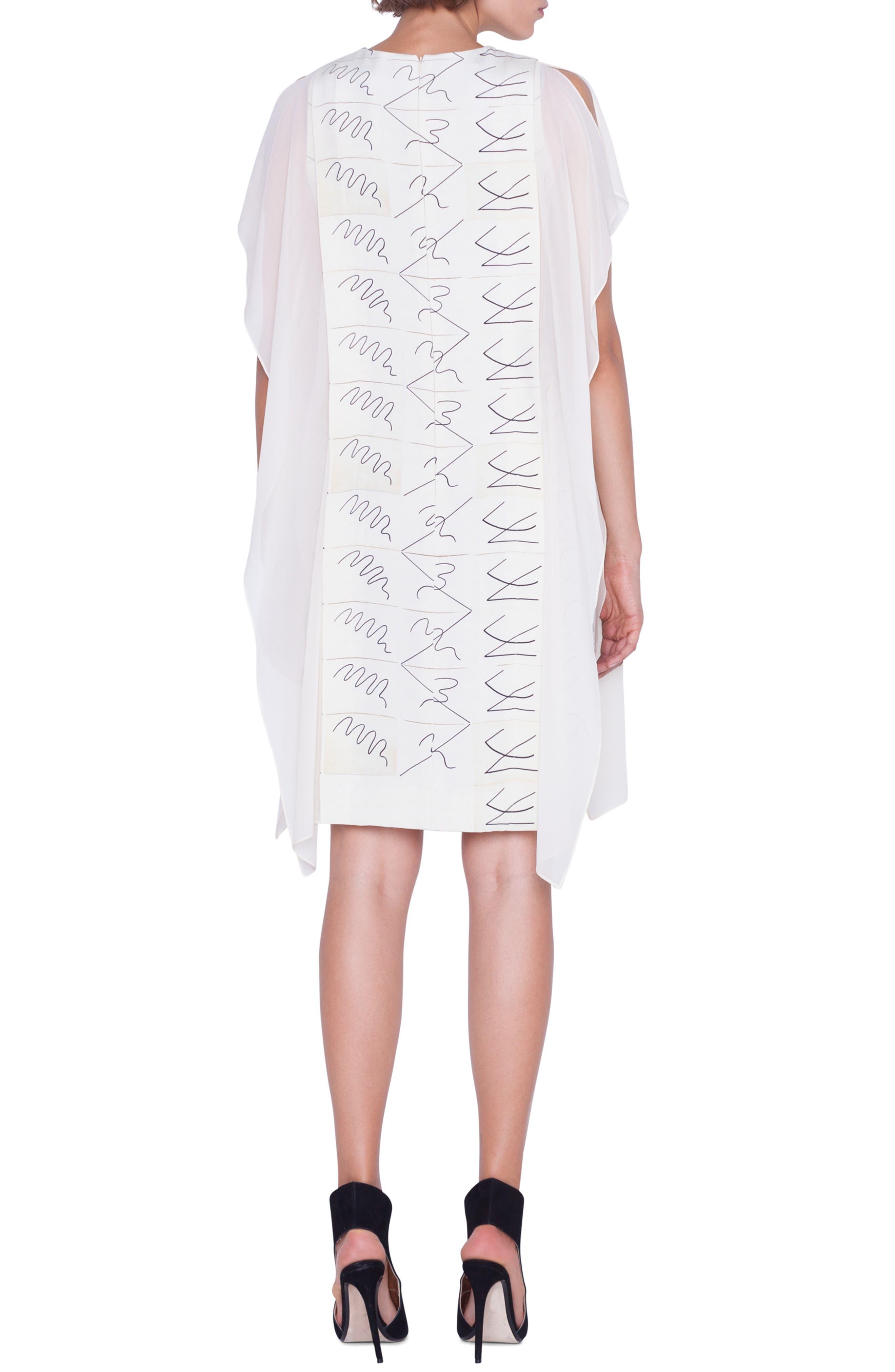 AKRIS, Leporello Print Cold Shoulder Silk Dress, Alternate thumbnail 2, color, PAPER