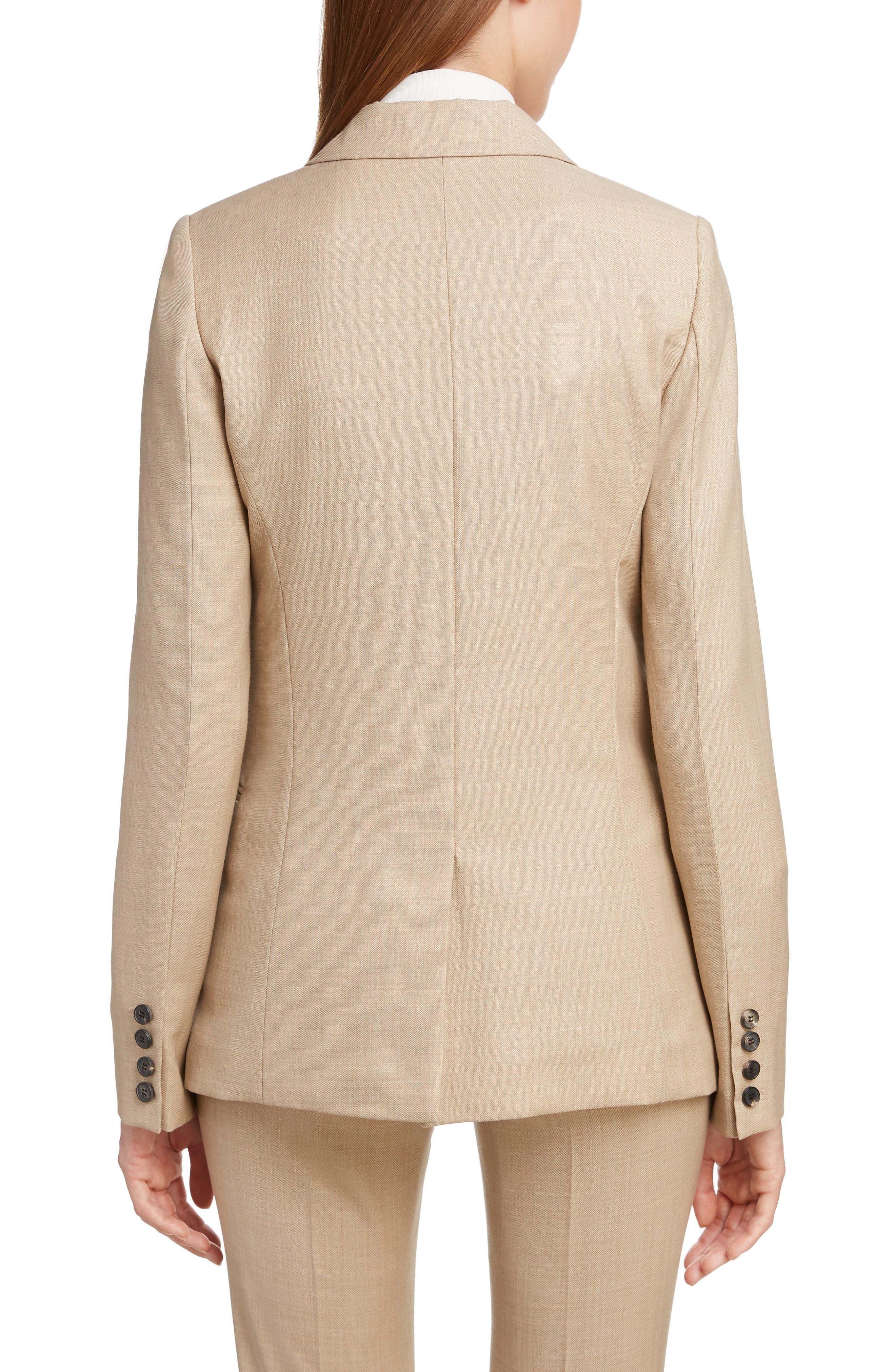 VICTORIA BECKHAM, Wool Jacket, Alternate thumbnail 2, color, LIGHT BEIGE-WHITE