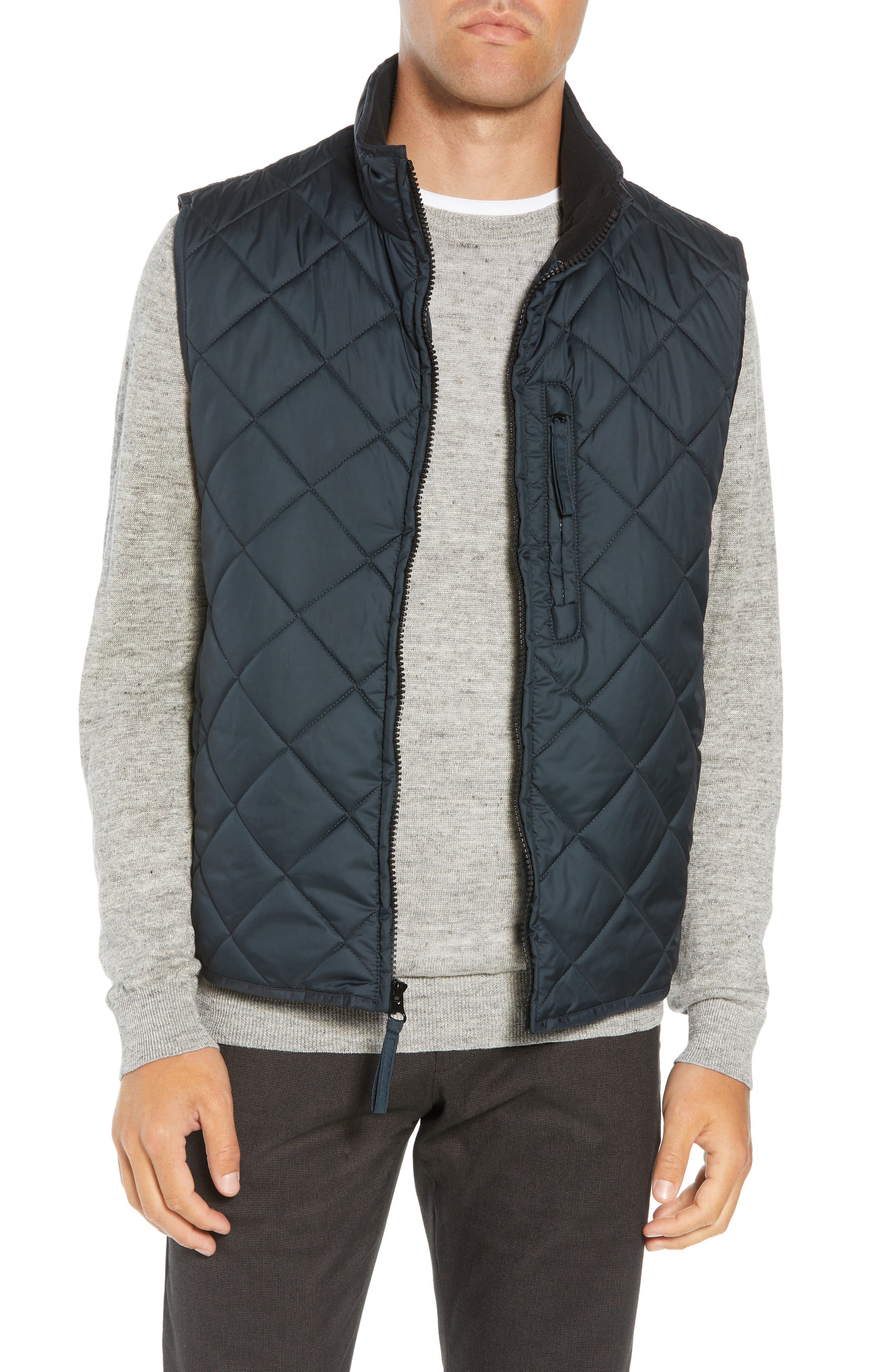 MARC NEW YORK Chester Packable Quilted Vest, Main, color, BLACK