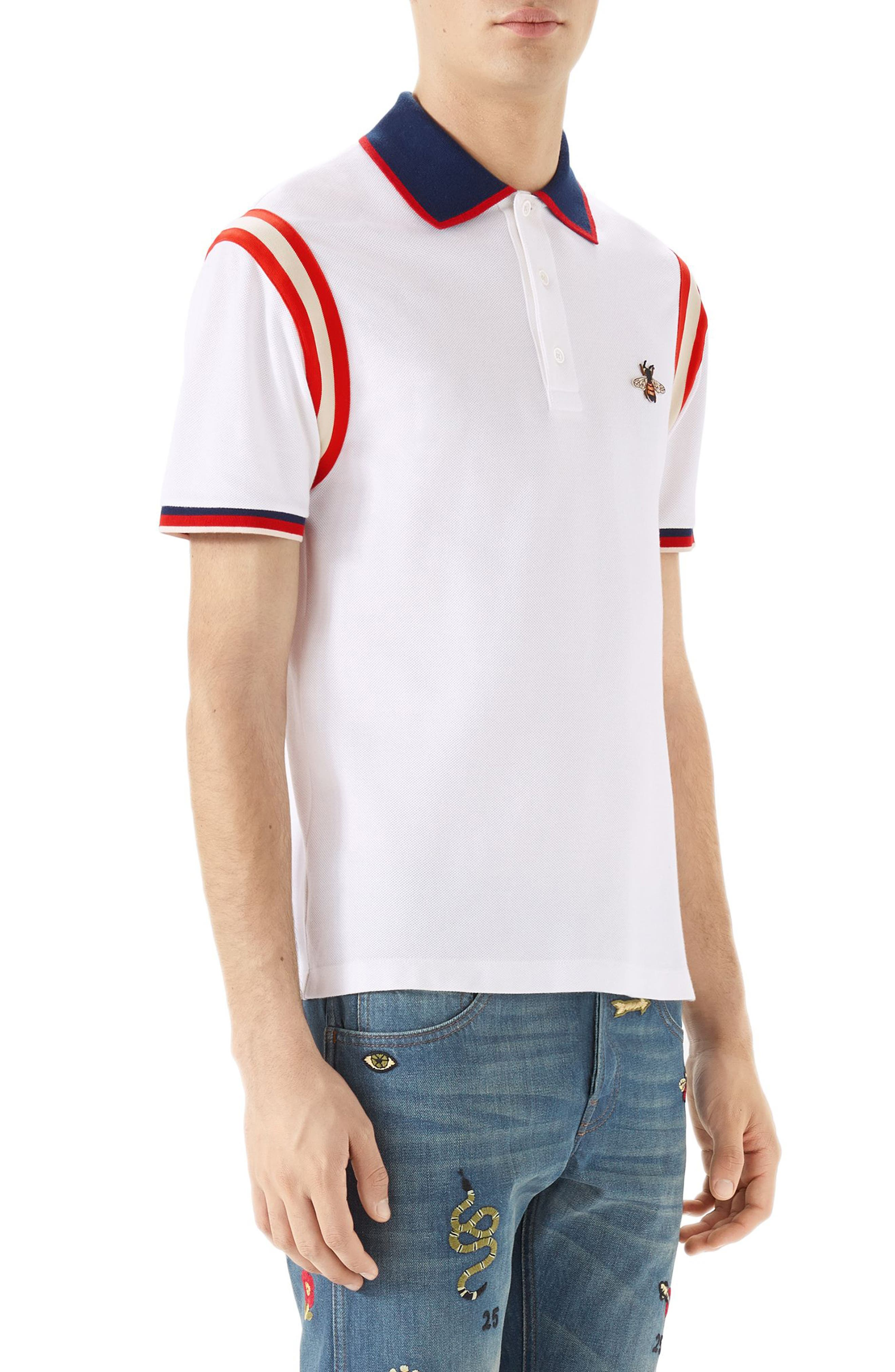 GUCCI, Stripe Sleeve Bee Polo, Alternate thumbnail 3, color, 100
