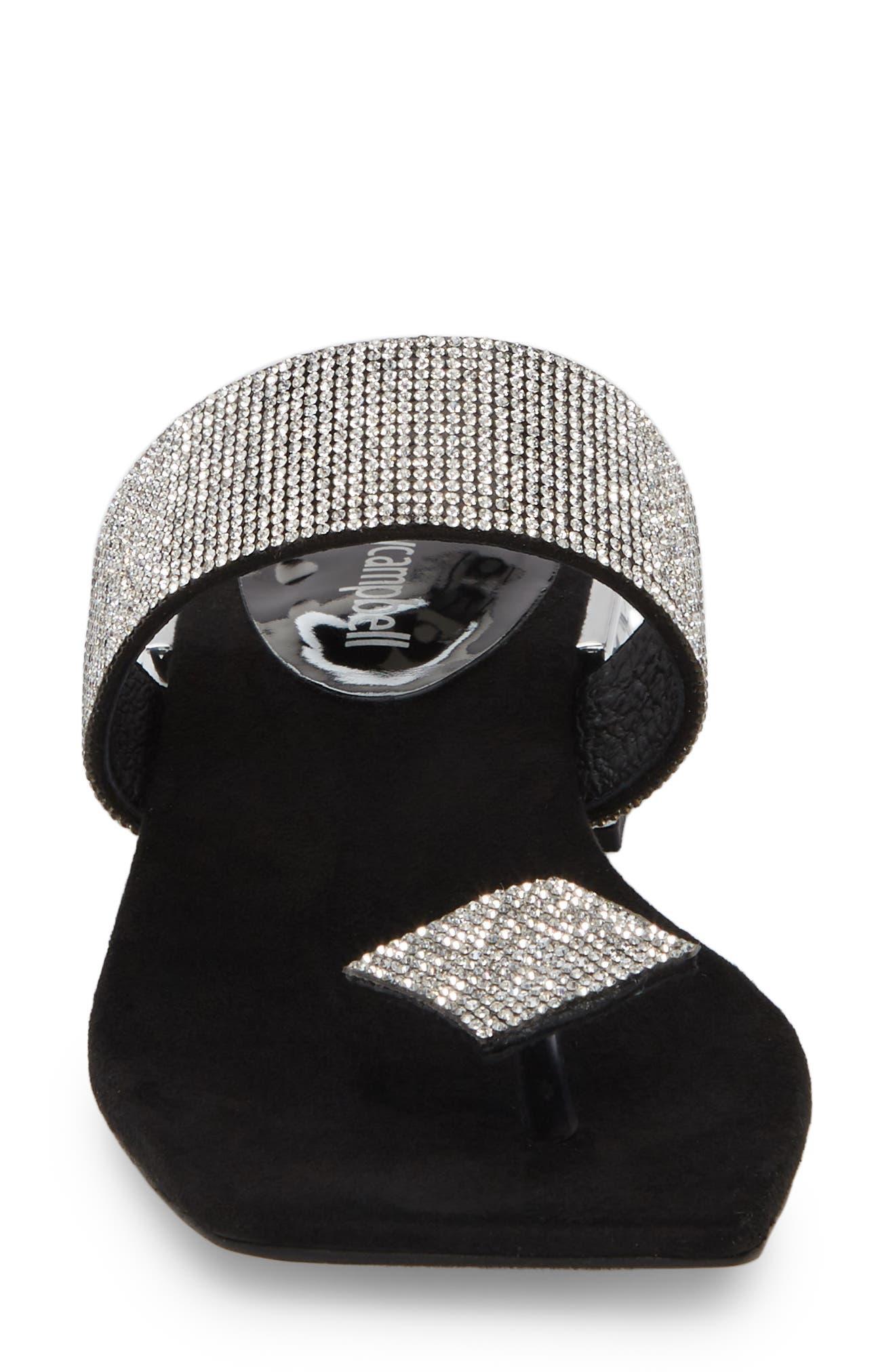 JEFFREY CAMPBELL, Alise Embellished Sandal, Alternate thumbnail 4, color, BLACK SUEDE/ SILVER