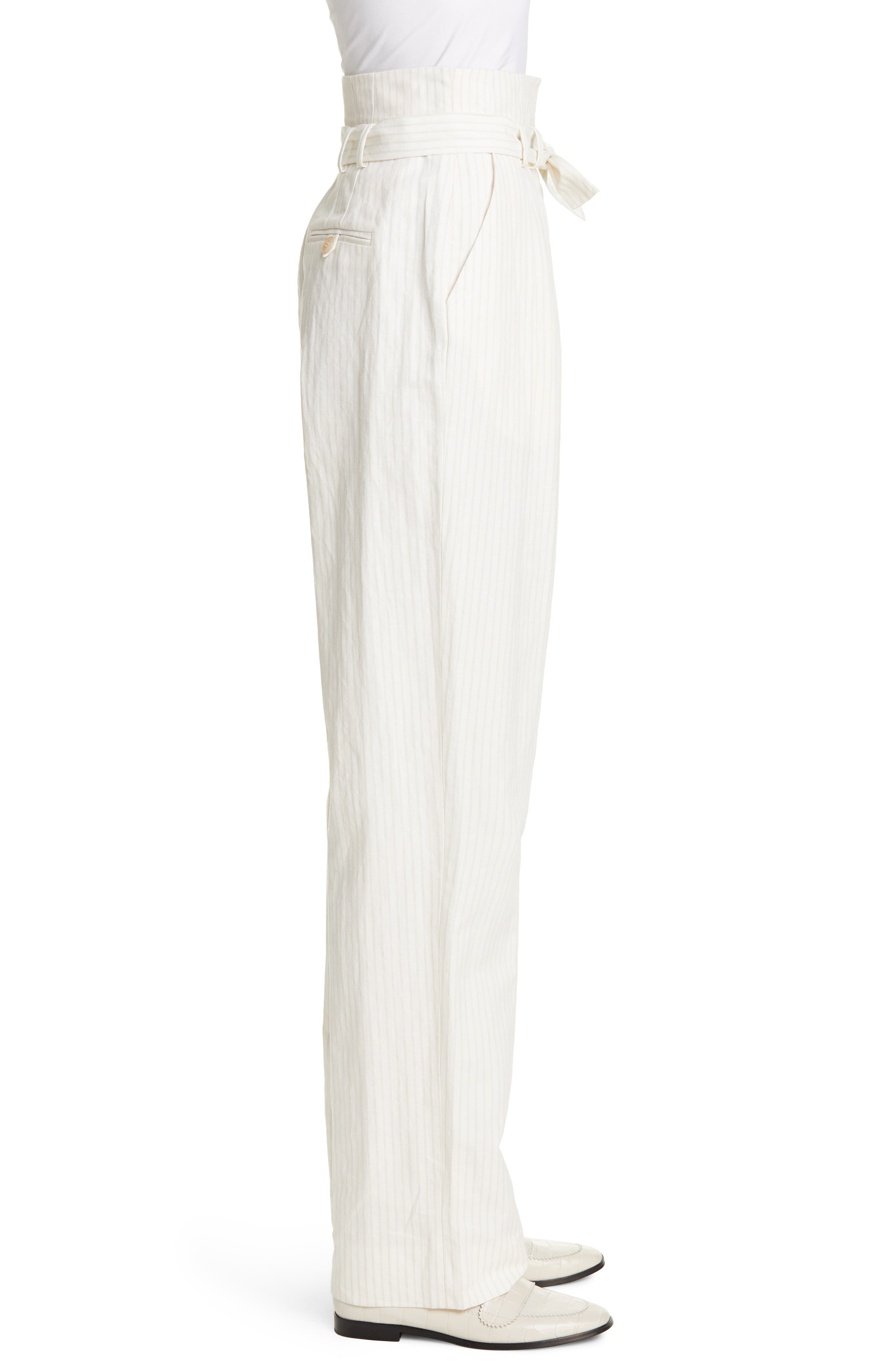 REBECCA TAYLOR, Pinstripe Belted Wide Leg Pants, Alternate thumbnail 4, color, SNOW COMBO