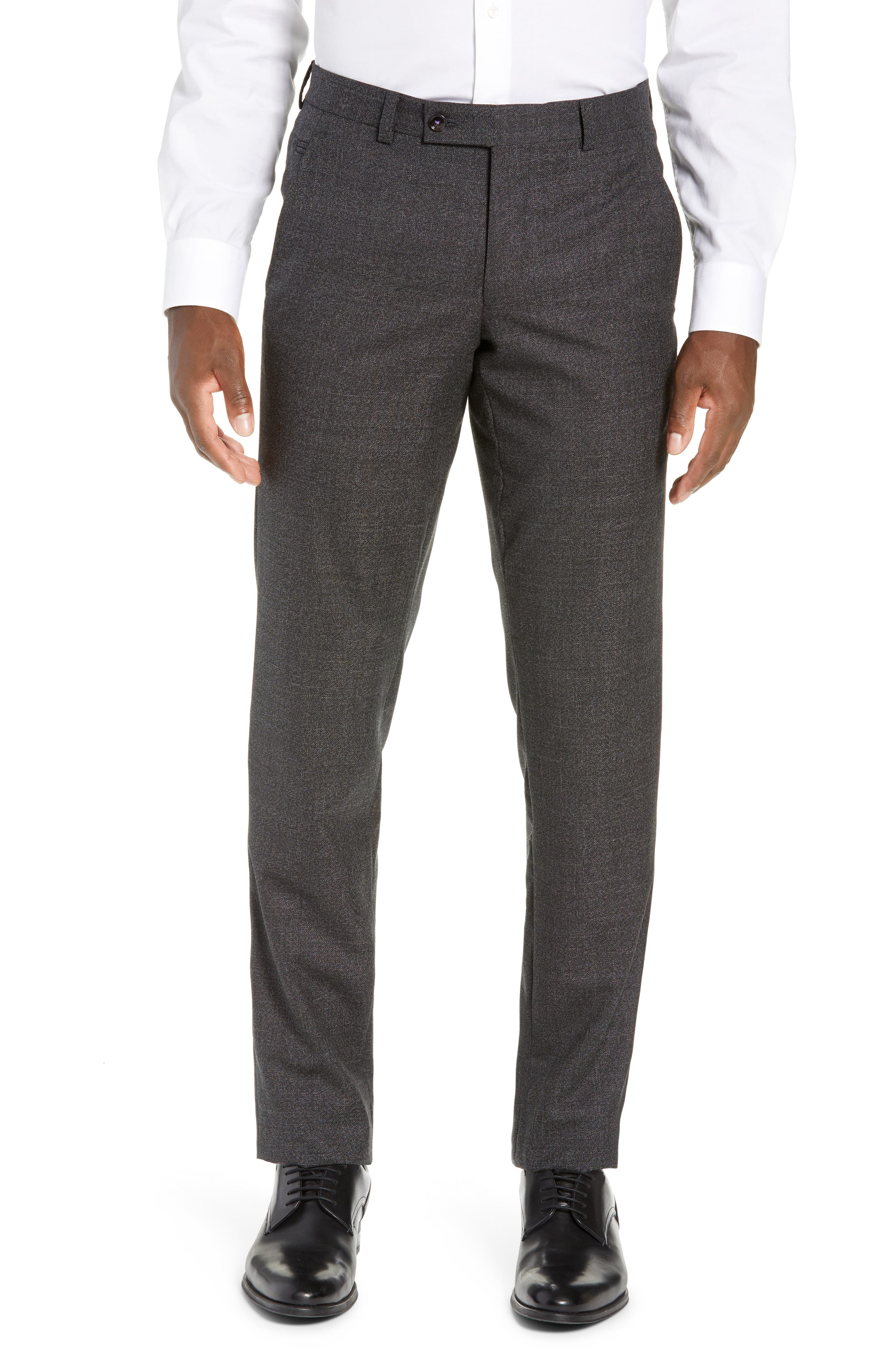 TED BAKER LONDON, Jerome Flat Front Solid Wool Trousers, Main thumbnail 1, color, CHARCOAL
