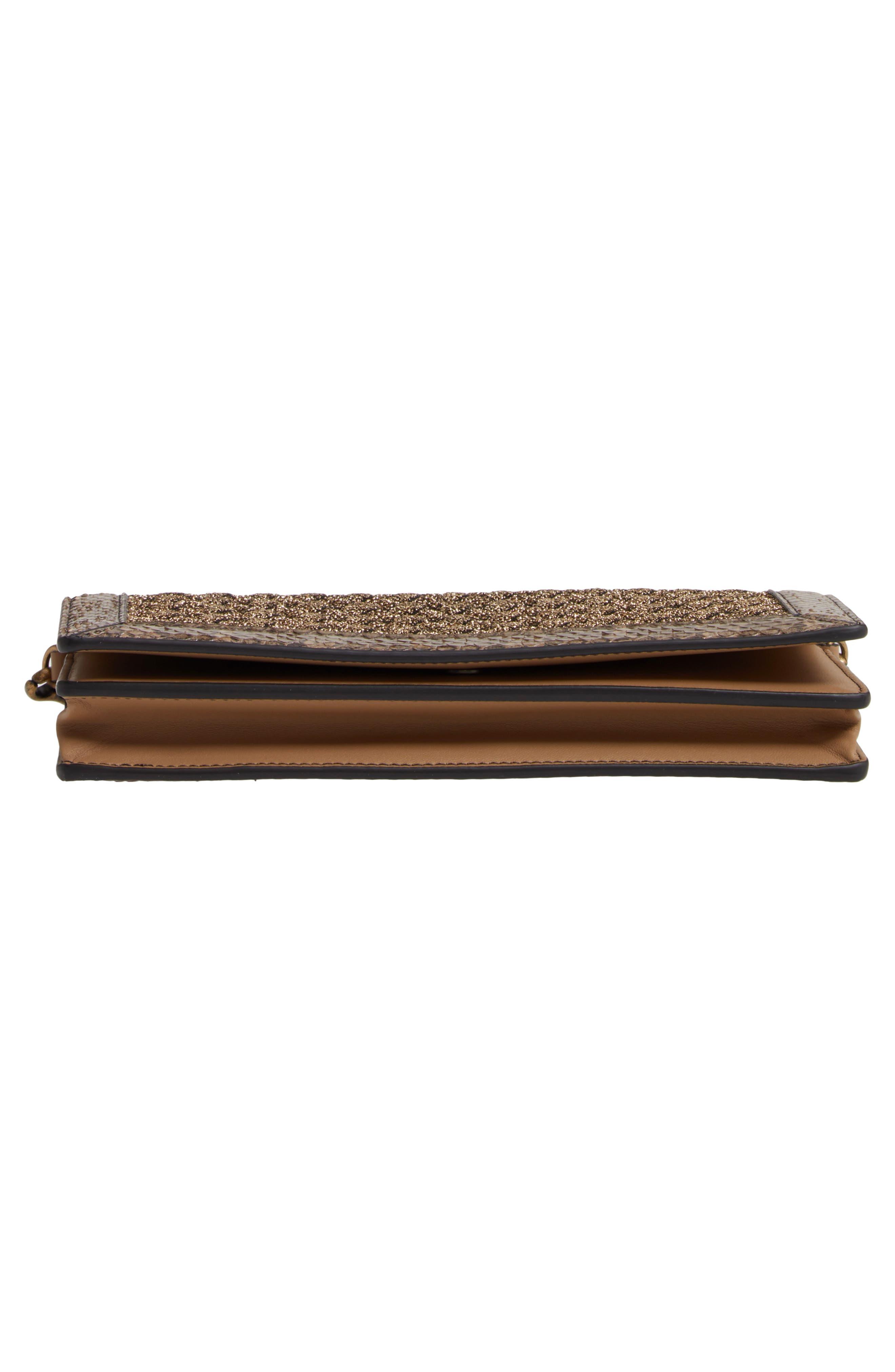 BOTTEGA VENETA, Genuine Snakeskin & Metallic Wallet on a Chain, Alternate thumbnail 6, color, ORO BRUCIATO/ CHAMPIGNON