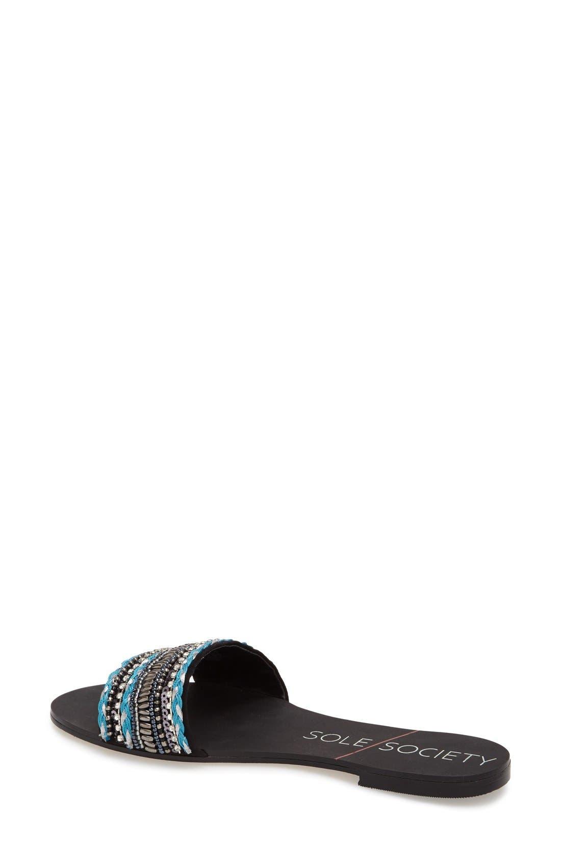 SOLE SOCIETY, 'Eliana' Slide Sandal, Alternate thumbnail 3, color, 001