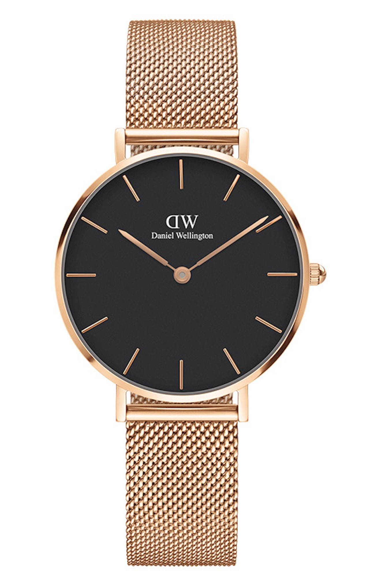 DANIEL WELLINGTON Classic Petite Mesh Strap Watch, 32mm, Main, color, ROSE GOLD/ BLACK / ROSE GOLD