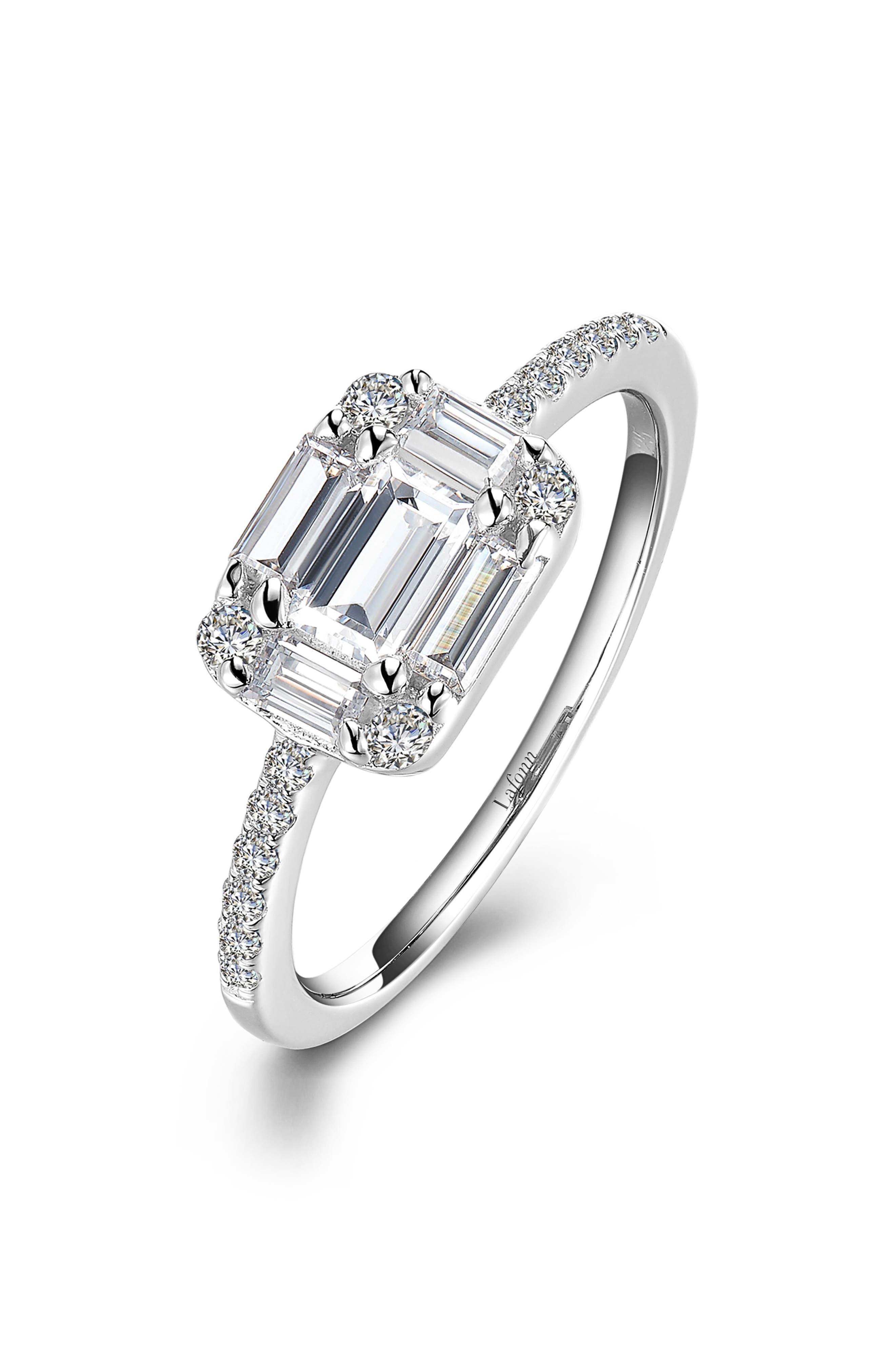 LAFONN, Emerald-Shaped Baguette Ring, Main thumbnail 1, color, SILVER/ CLEAR