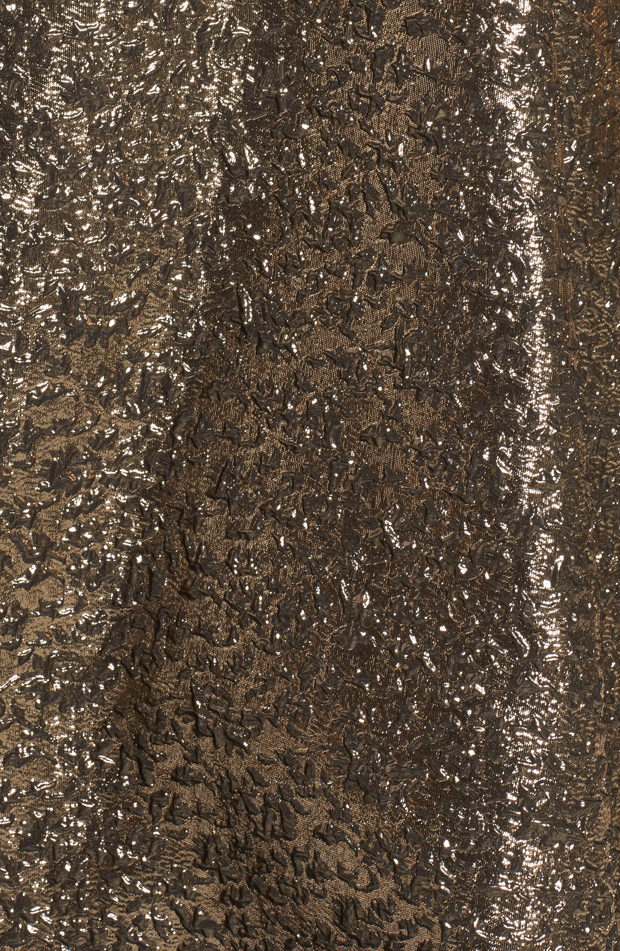 MAC DUGGAL, Metallic Jacquard Ballgown, Alternate thumbnail 5, color, ANTIQUE GOLD