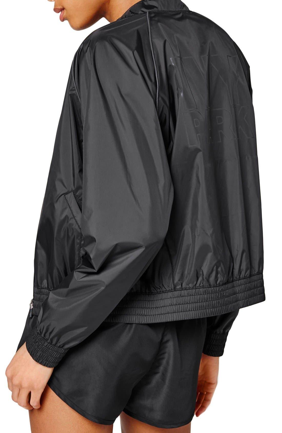 IVY PARK<SUP>®</SUP>, Technical Bomber Jacket with Reflective Logo, Alternate thumbnail 3, color, 001