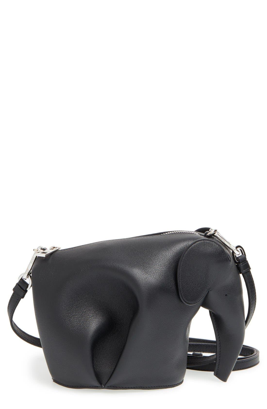 LOEWE, 'Mini Elephant' Crossbody Bag, Main thumbnail 1, color, 001