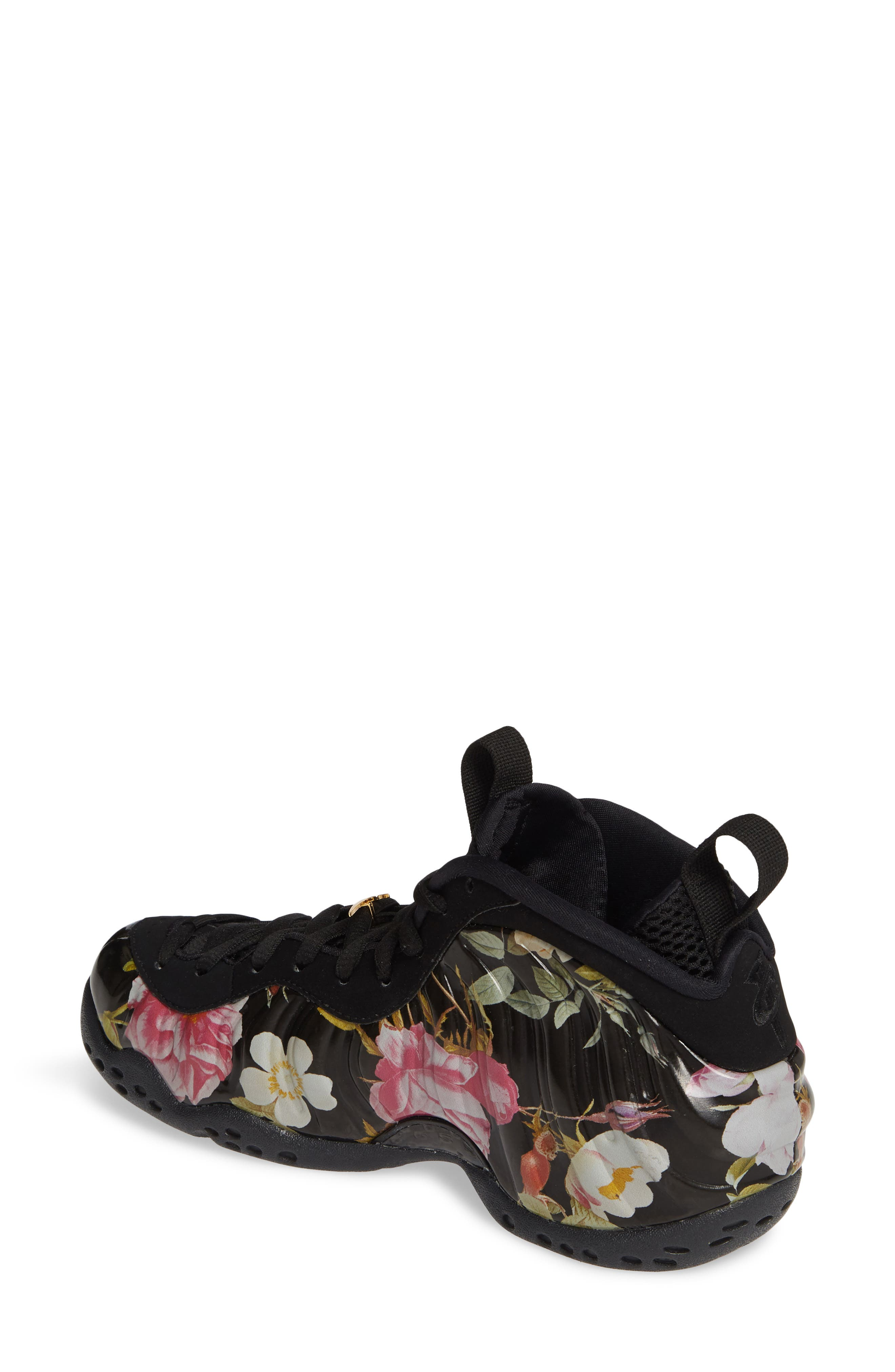 NIKE, Air Foamposite One Sneaker, Alternate thumbnail 2, color, BLACK/ BLACK-METALLIC GOLD