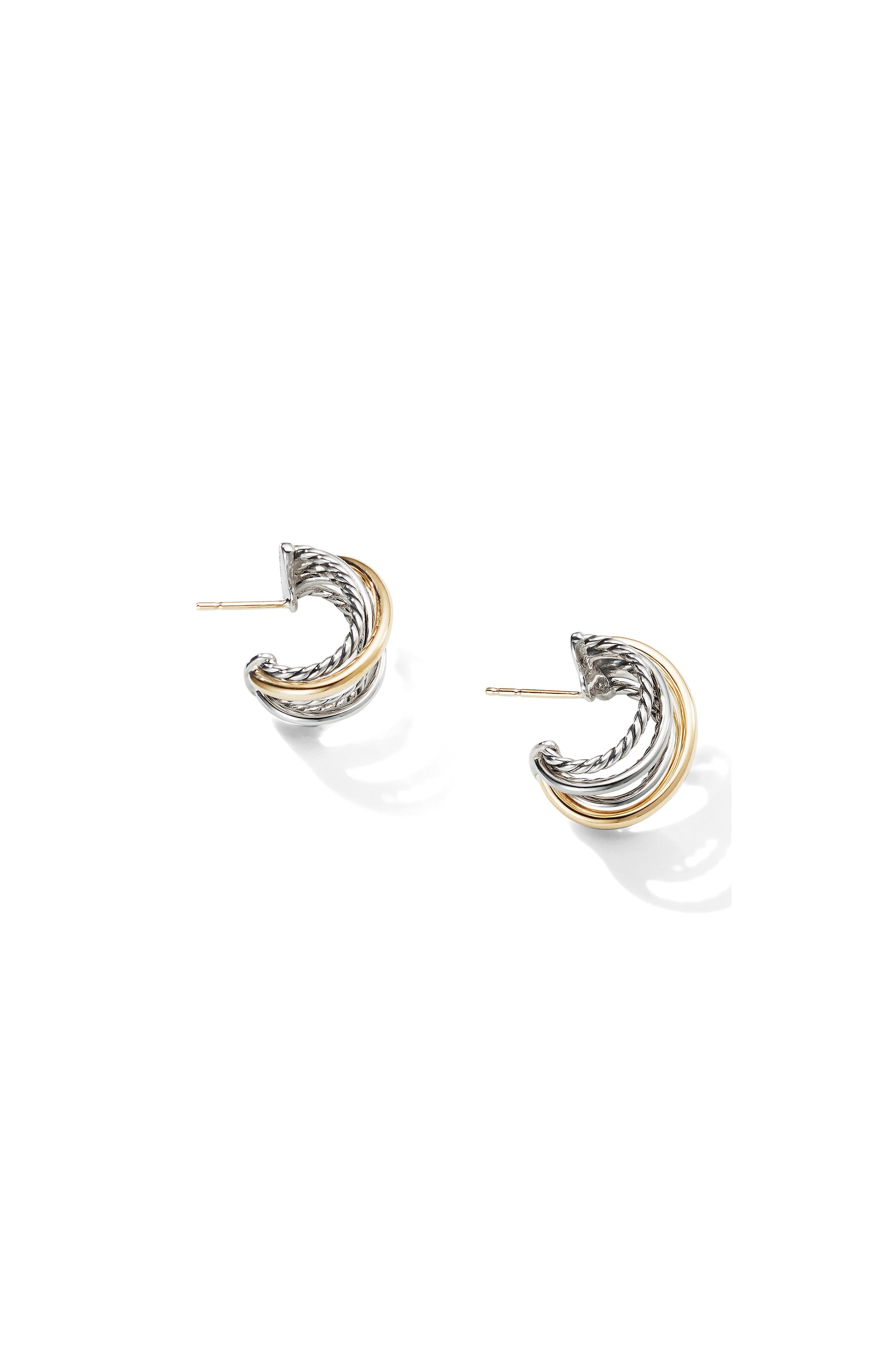 DAVID YURMAN, Crossover Huggie Hoop Earrings, Alternate thumbnail 2, color, SILVER/ GOLD