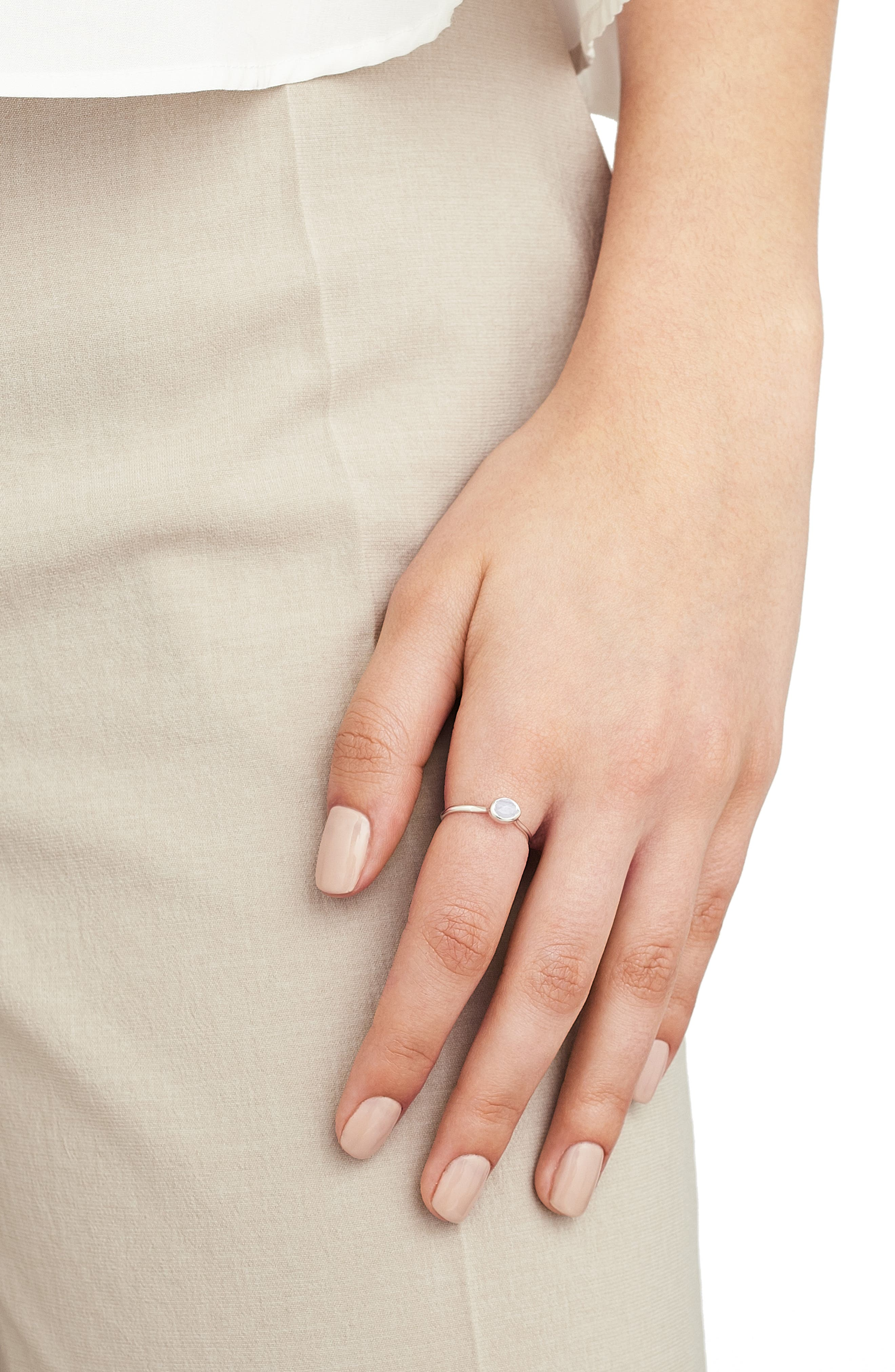 MONICA VINADER, Siren Small Stacking Ring, Alternate thumbnail 2, color, SILVER/ BLUE LACE AGATE