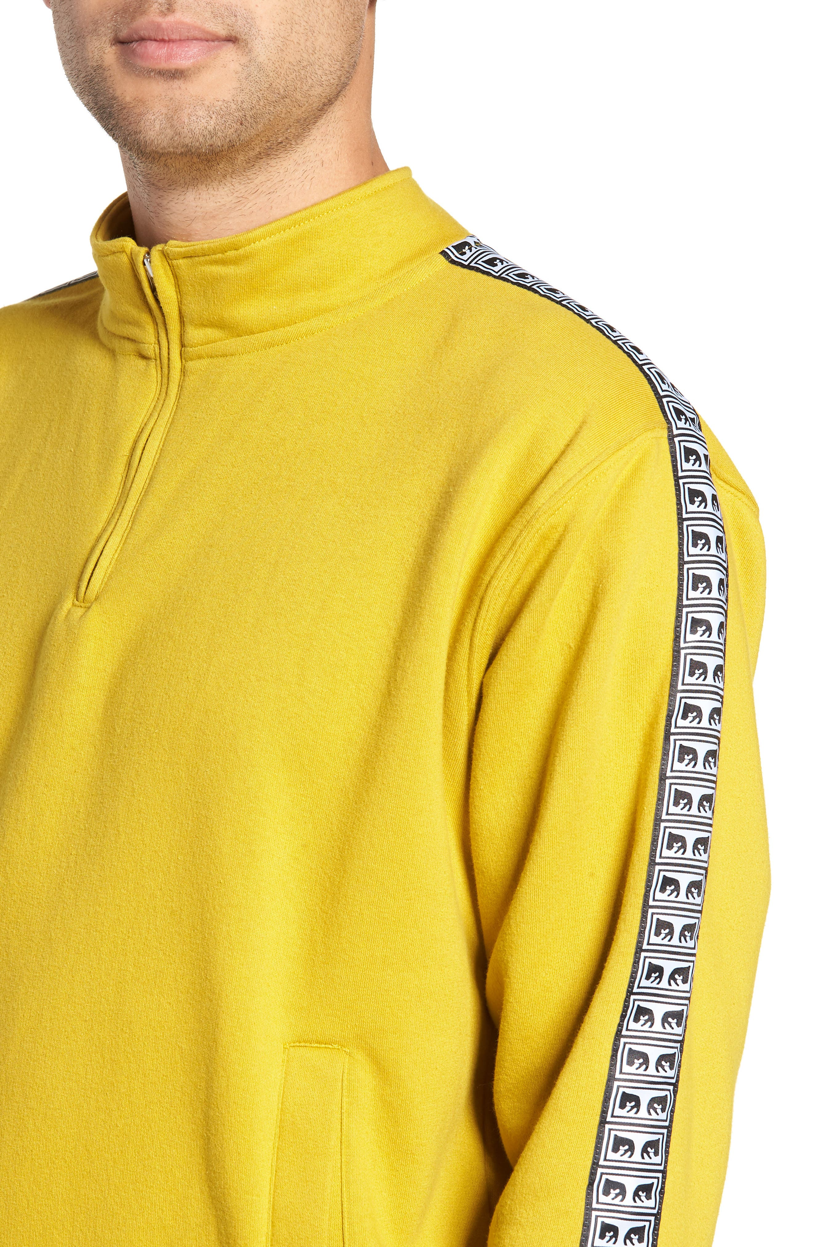 OBEY, Bridges Logo Tape Quarter Zip Pullover, Alternate thumbnail 4, color, 700
