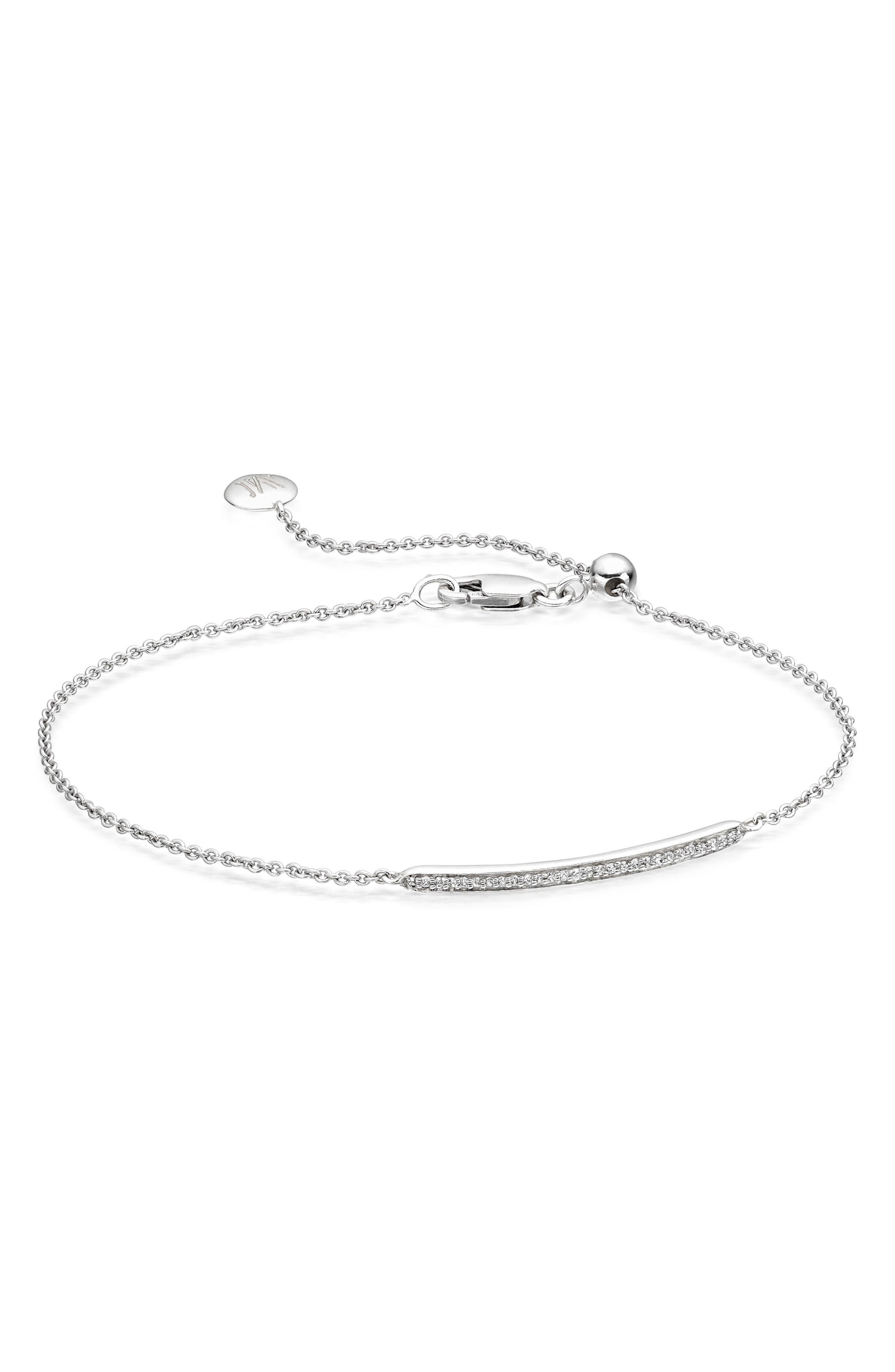 MONICA VINADER, Skinny Diamond Bracelet, Main thumbnail 1, color, SILVER/ DIAMOND