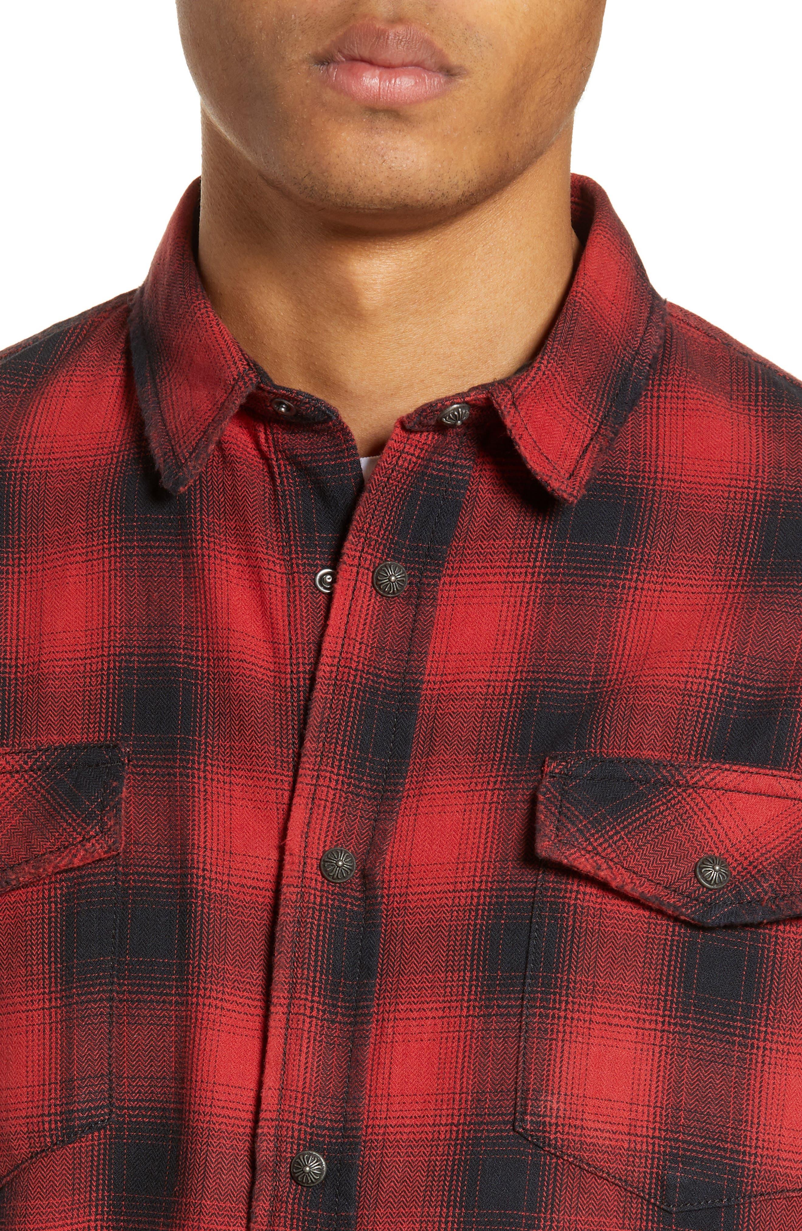 THE KOOPLES, Regular Fit Ombré Plaid Shirt, Alternate thumbnail 2, color, RED / BLACK