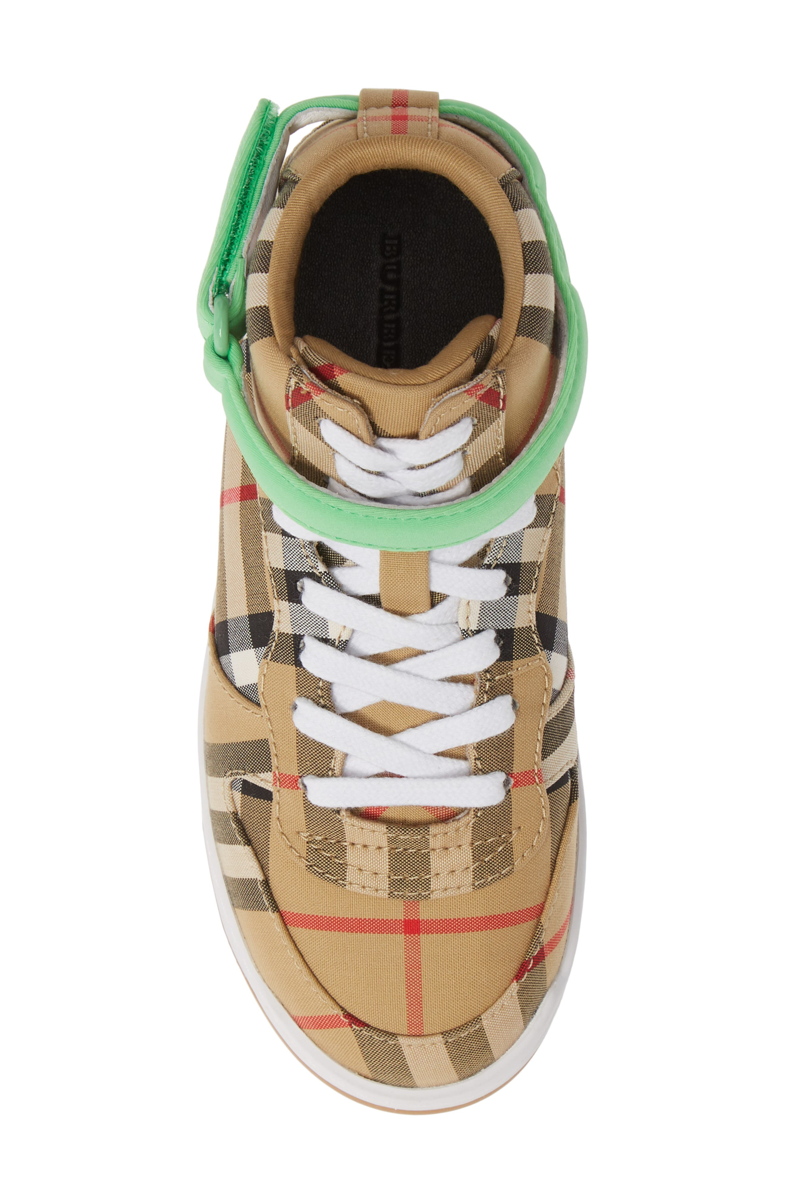 BURBERRY, Groves High Top Sneaker, Alternate thumbnail 5, color, NEON GREEN
