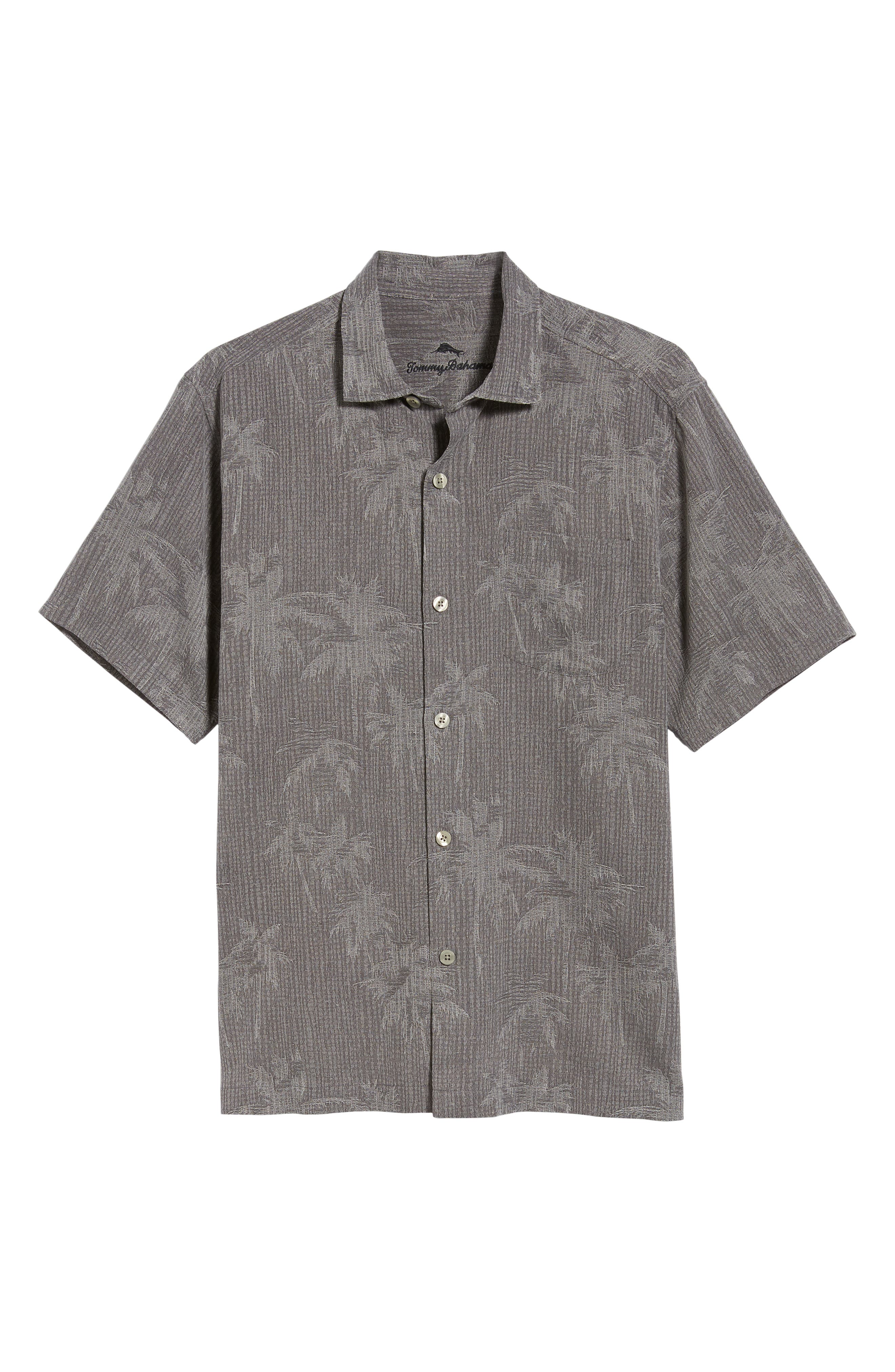 TOMMY BAHAMA, Digital Palms Silk Sport Shirt, Alternate thumbnail 5, color, CAVE