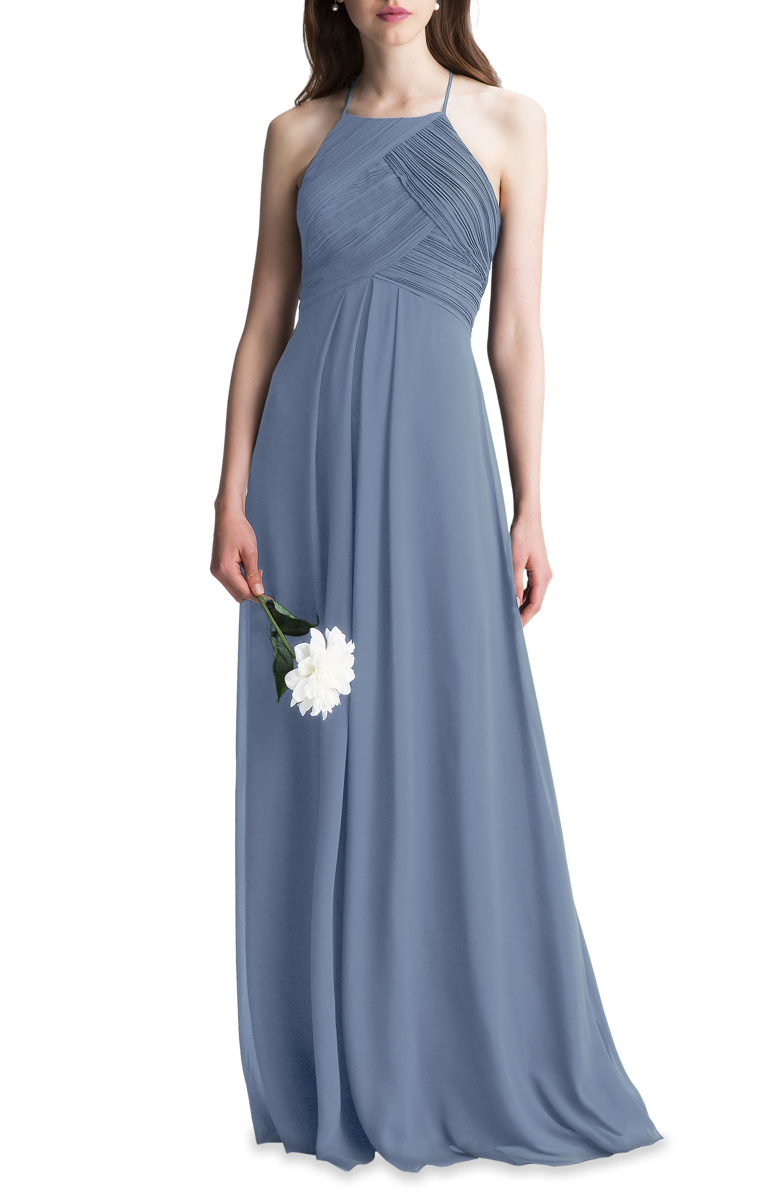 #LEVKOFF, Halter Chiffon A-Line Gown, Main thumbnail 1, color, SLATE