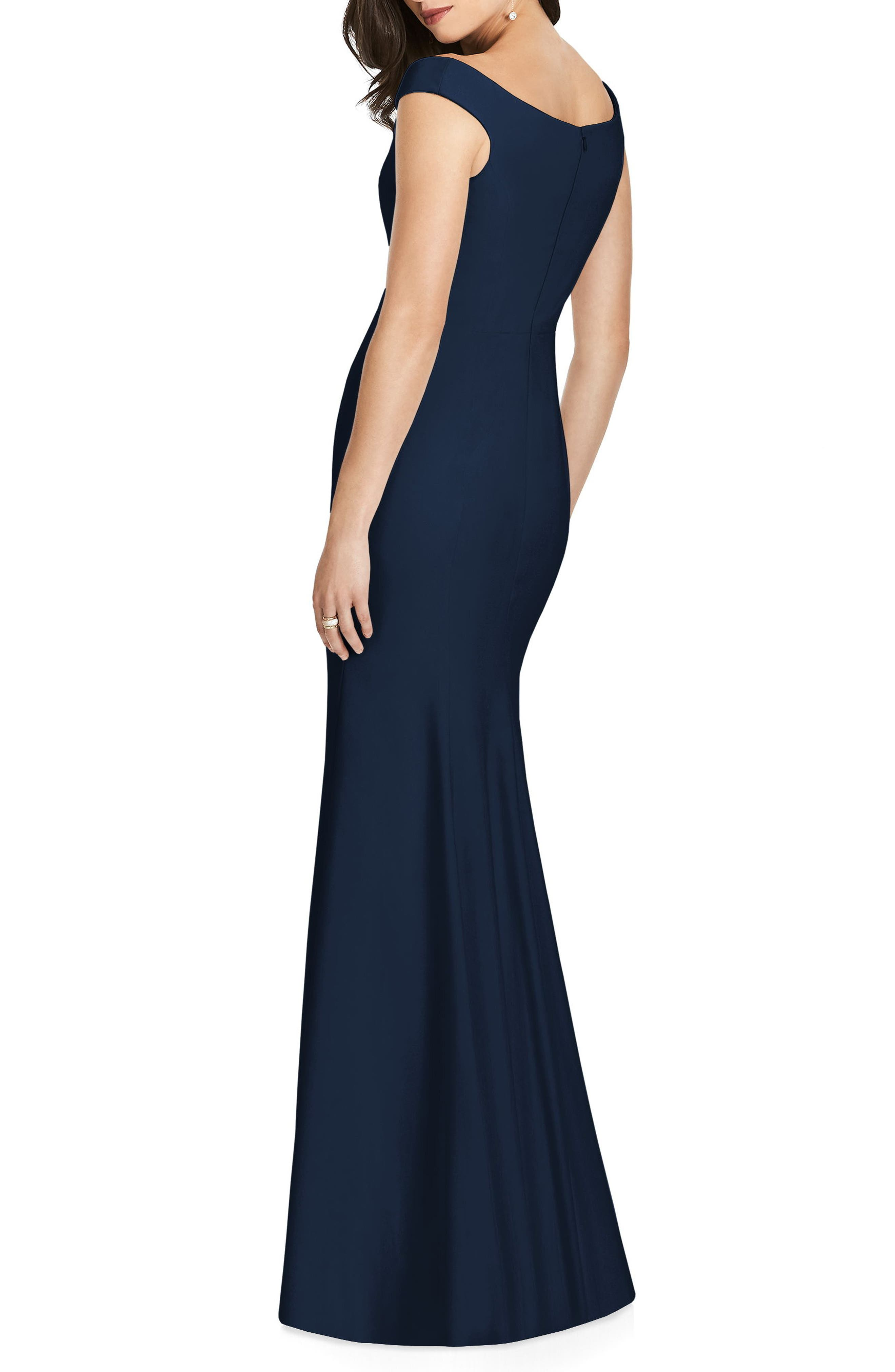 DESSY COLLECTION, Off the Shoulder Crepe Gown, Alternate thumbnail 2, color, MIDNIGHT