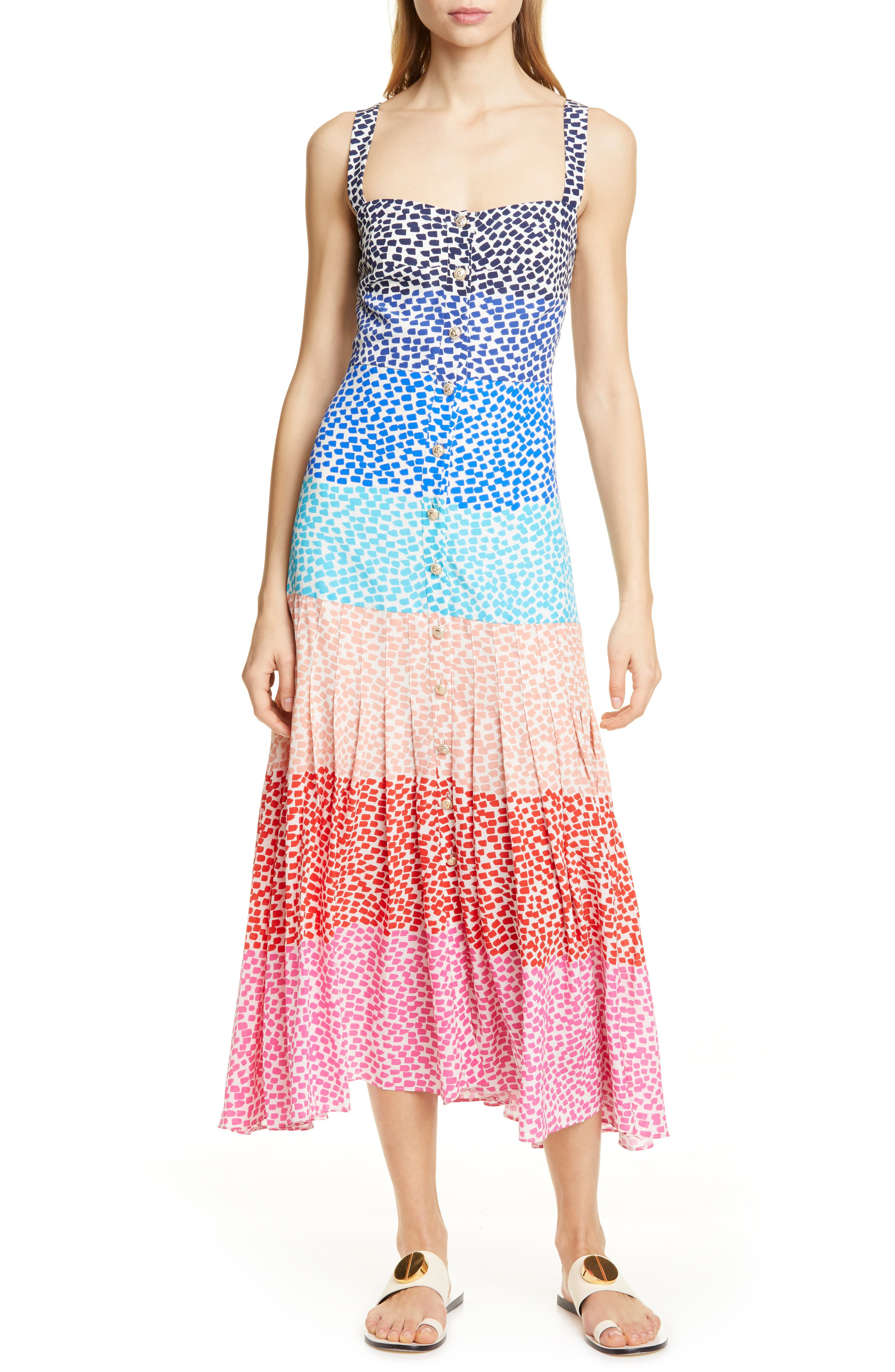 SALONI, Karen Stripe Silk Dress, Main thumbnail 1, color, RAINBOW GRADIENT PLMT