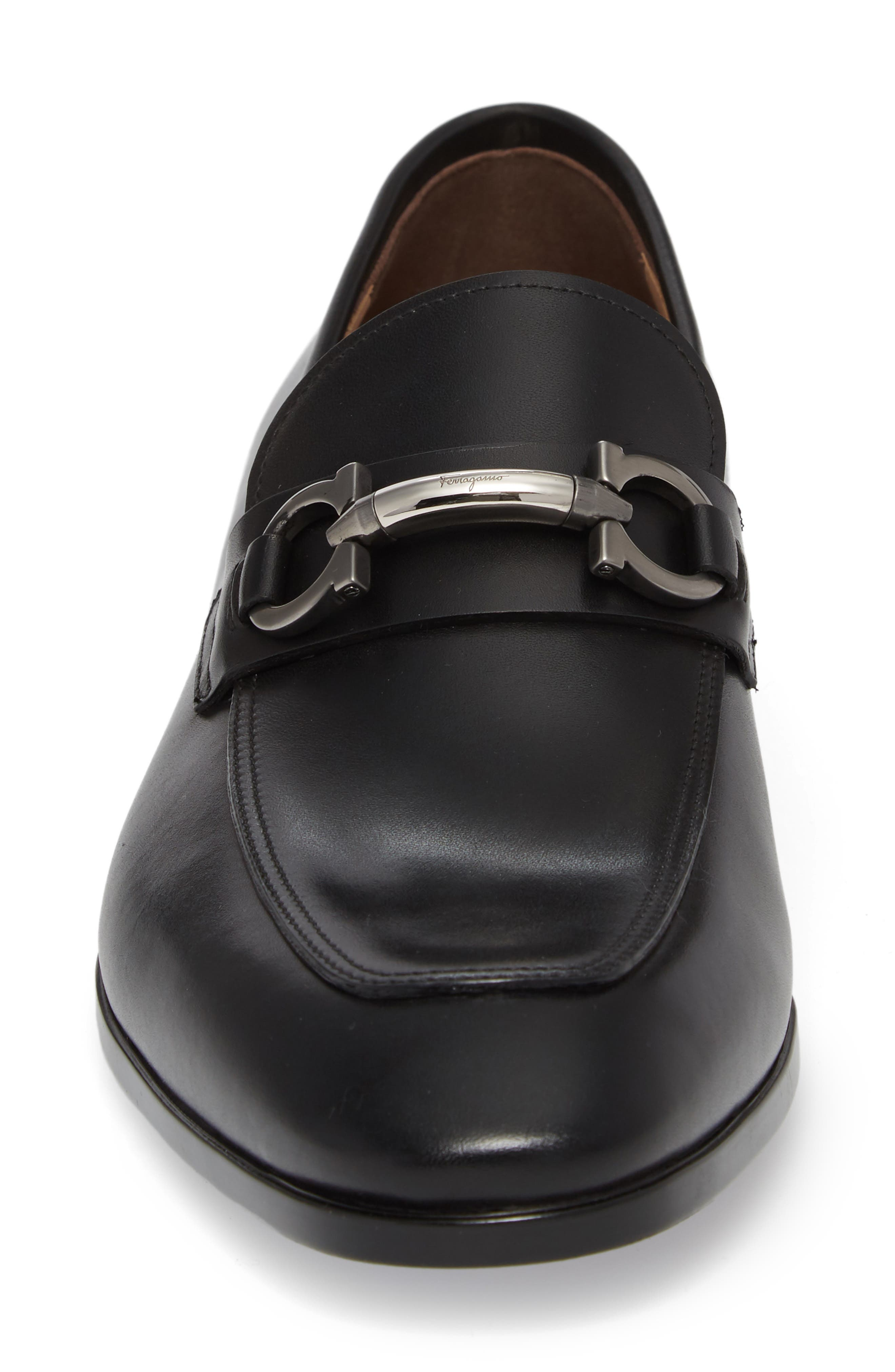 SALVATORE FERRAGAMO, Benford Rounded Bit Loafer, Alternate thumbnail 4, color, NERO LEATHER