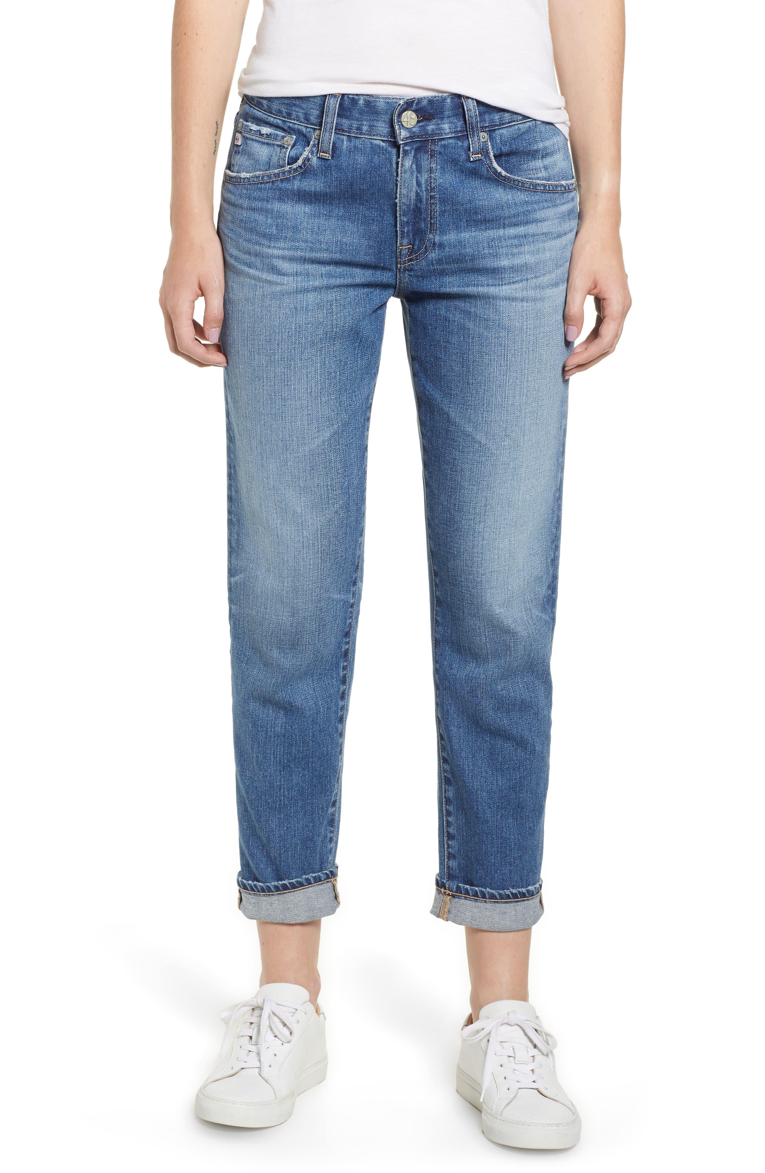 AG, Ex-Boyfriend Crop Slim Jeans, Main thumbnail 1, color, 417
