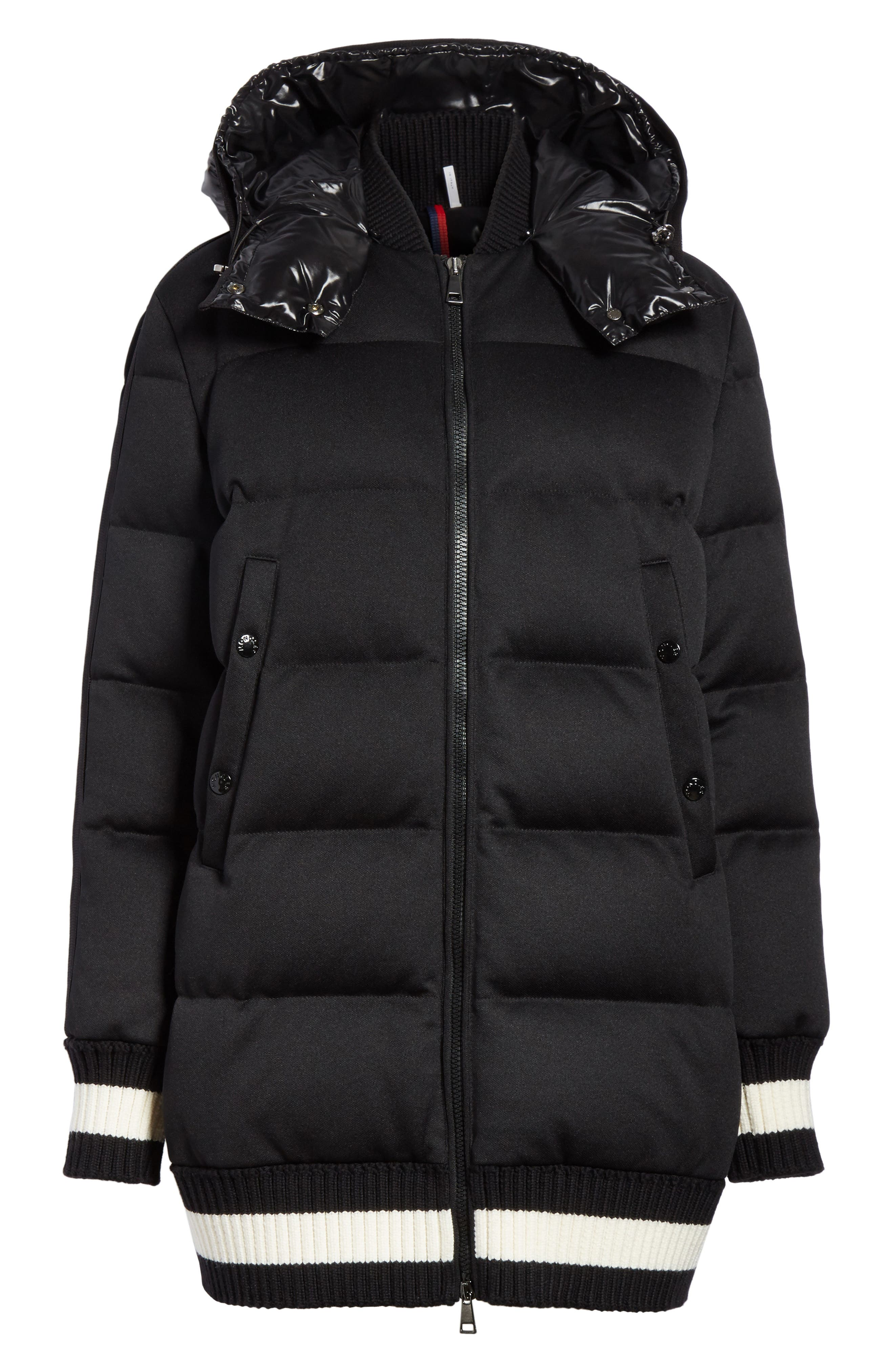 MONCLER, Harfang Quilted Down Bomber Coat, Alternate thumbnail 6, color, BLACK