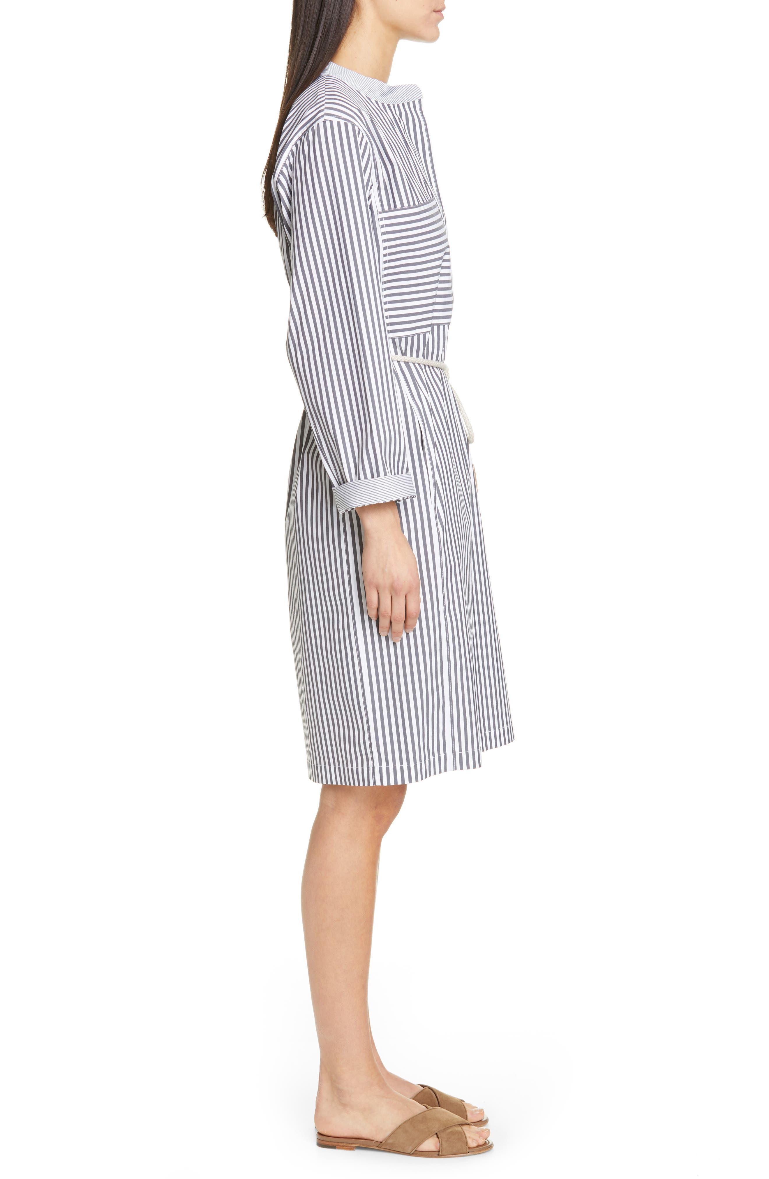 LAFAYETTE 148 NEW YORK, Rexana Stripe Long Sleeve Belted Shirtdress, Alternate thumbnail 4, color, ASH MULTI