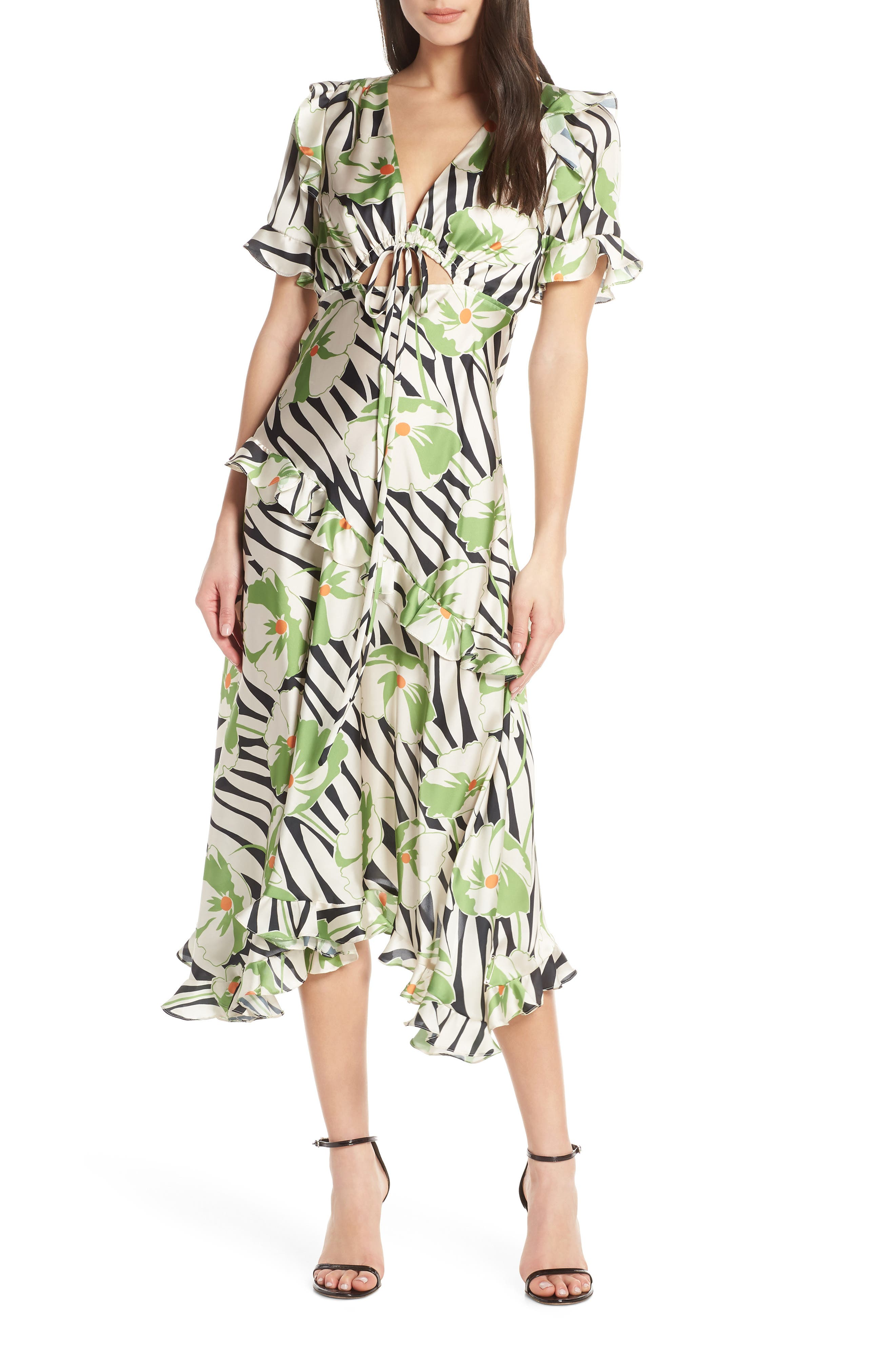 Jill Jill Stuart Tropical Print Ruffle Dress, Green