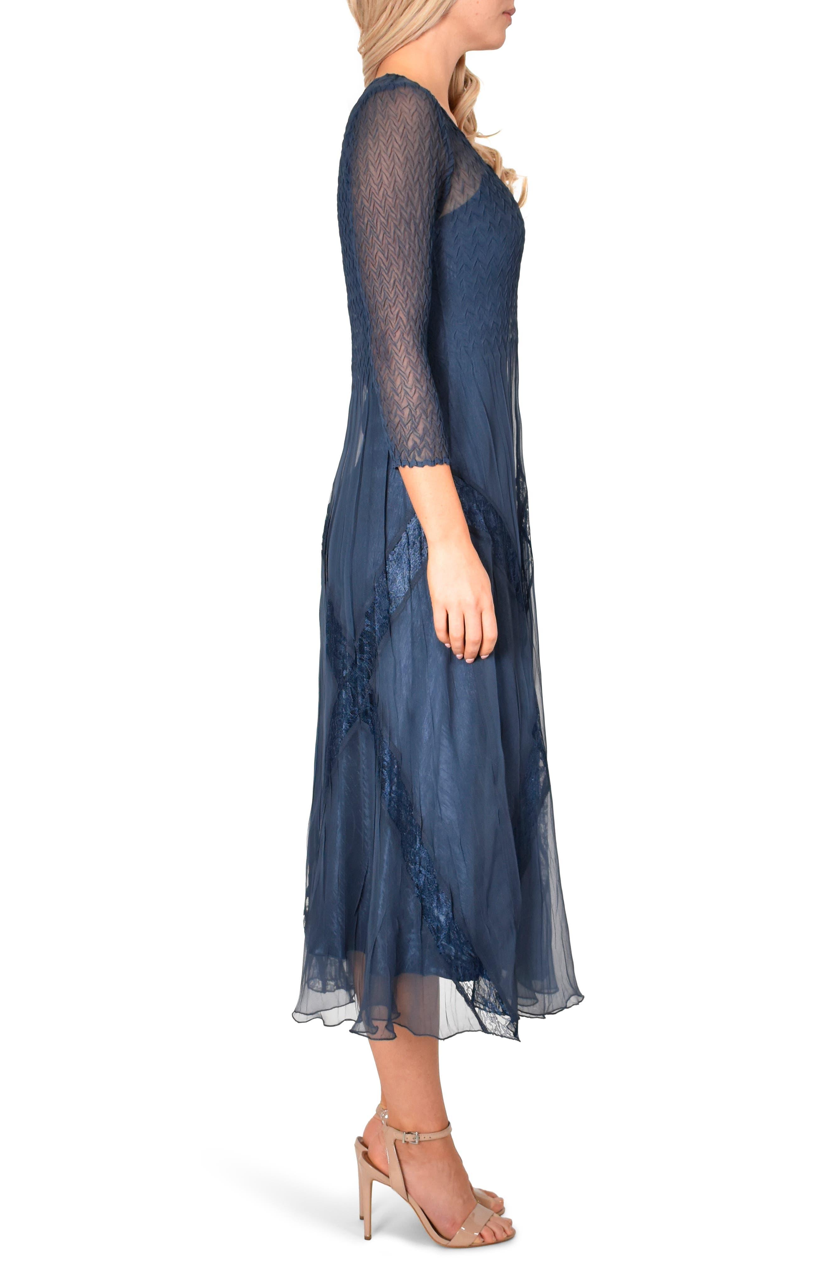 KOMAROV, Beaded Chiffon A-Line Dress, Alternate thumbnail 4, color, 400