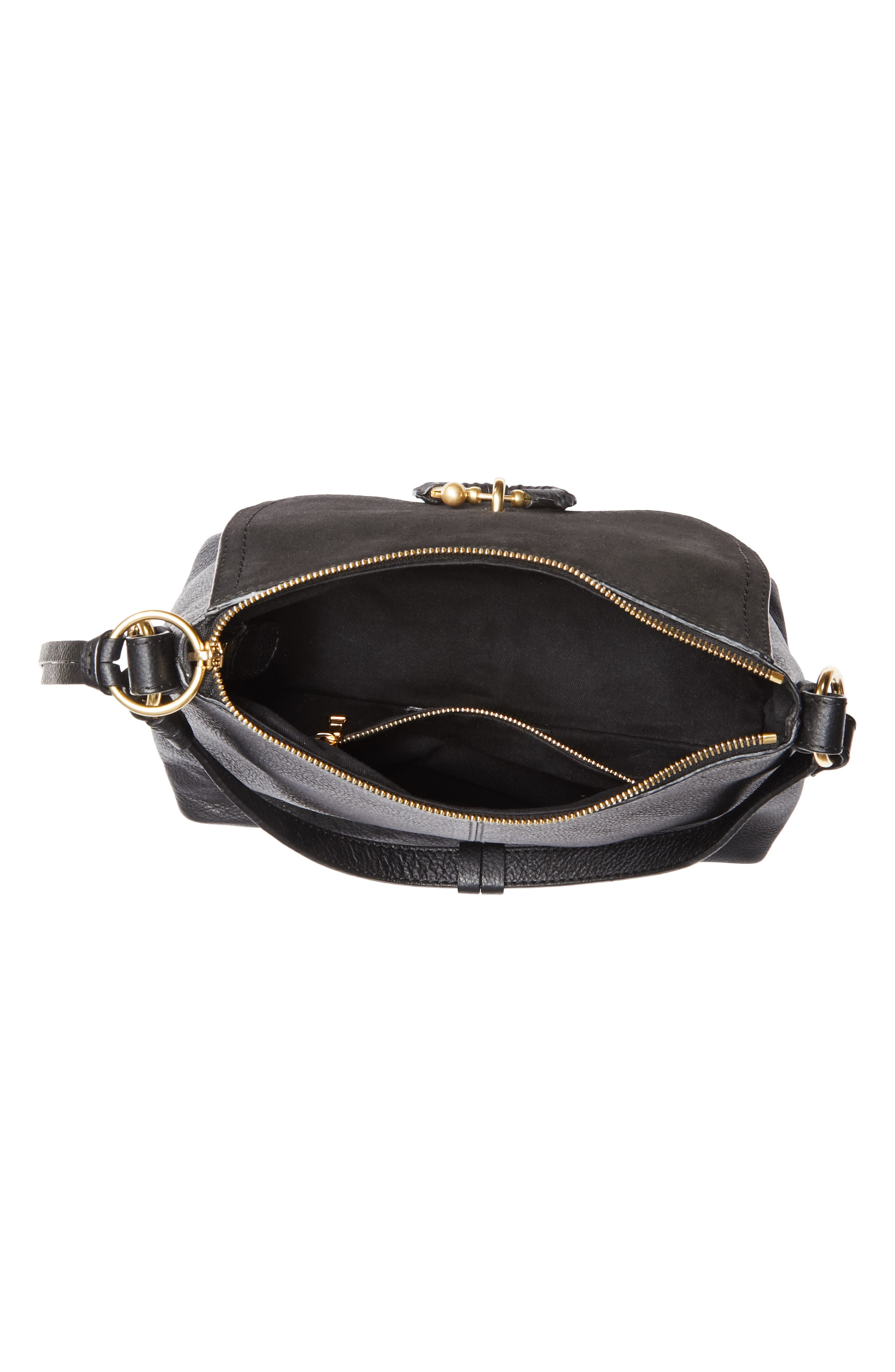 SEE BY CHLOÉ, Small Joan Suede & Leather Crossbody Bag, Alternate thumbnail 4, color, BLACK