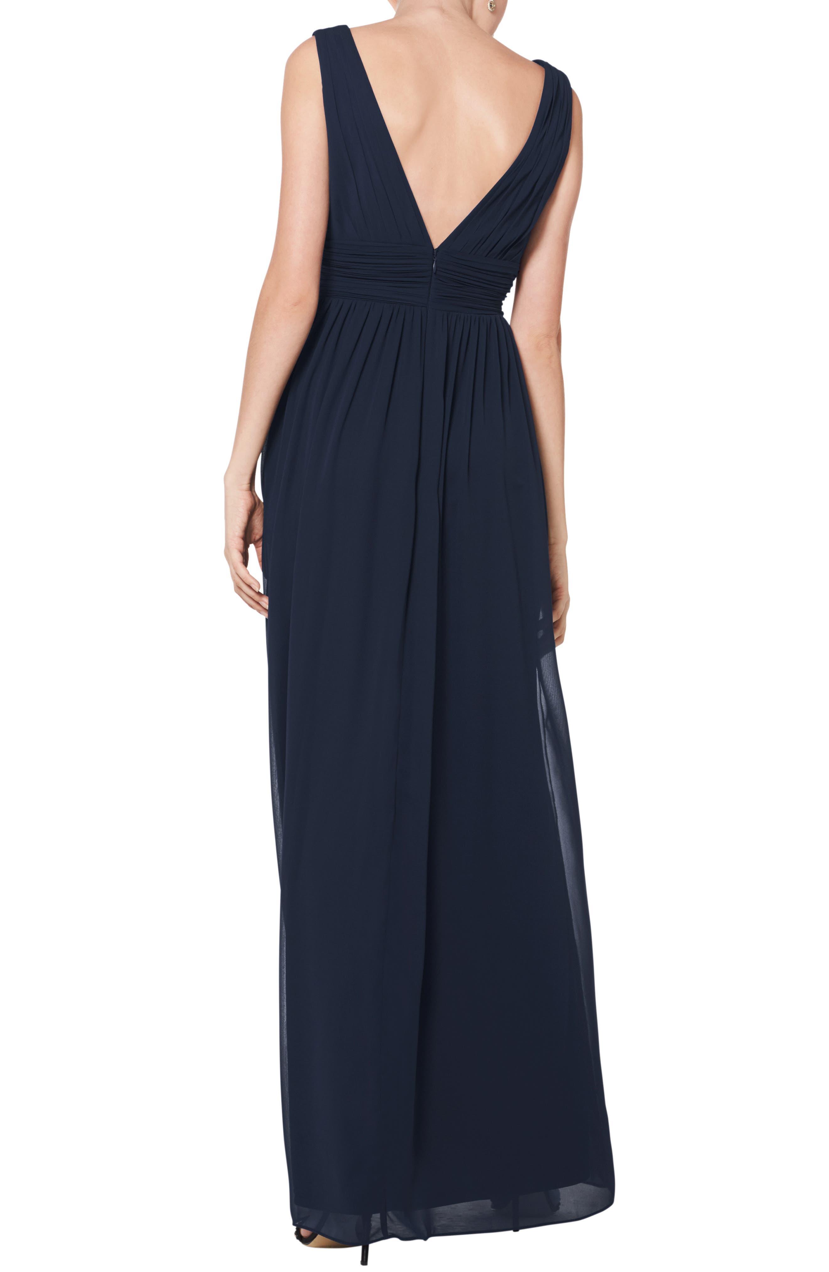 #LEVKOFF, V-Neck Pleated Chiffon Evening Dress, Alternate thumbnail 2, color, NAVY