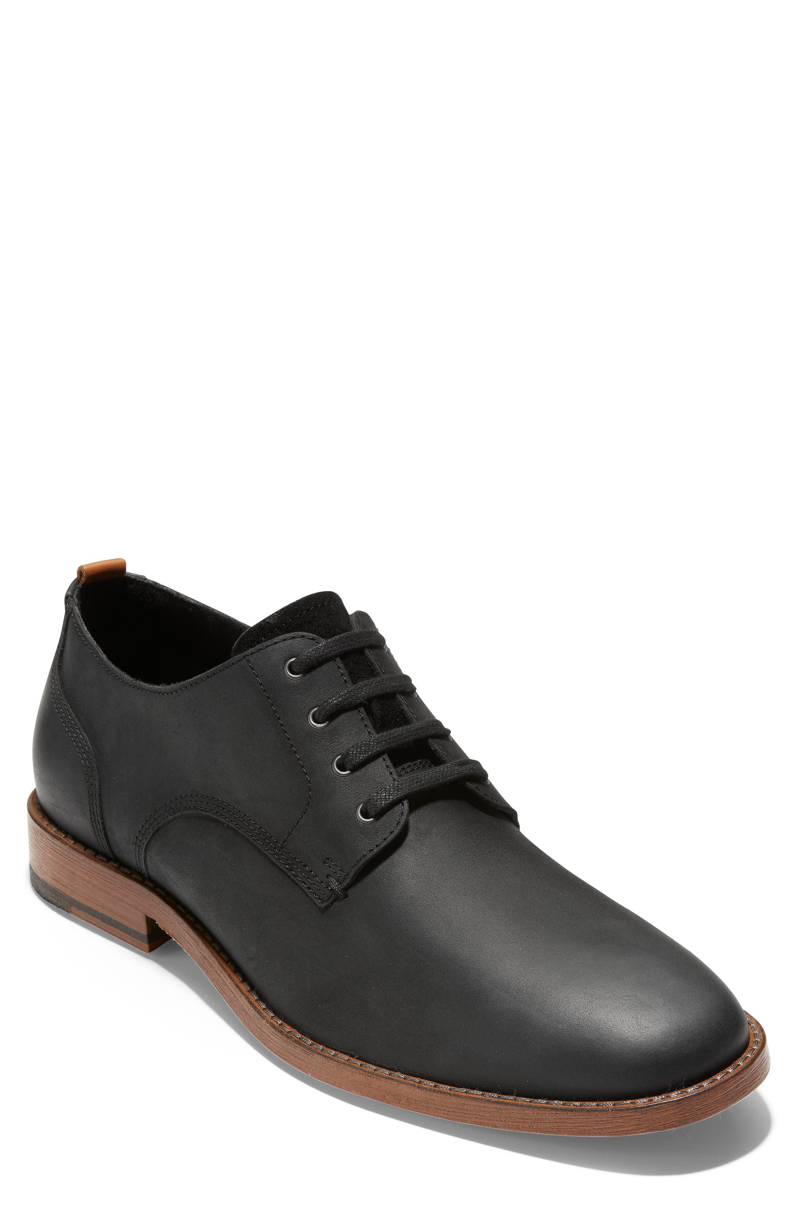 COLE HAAN, Feathercraft Grand Derby, Main thumbnail 1, color, BLACK LEATHER