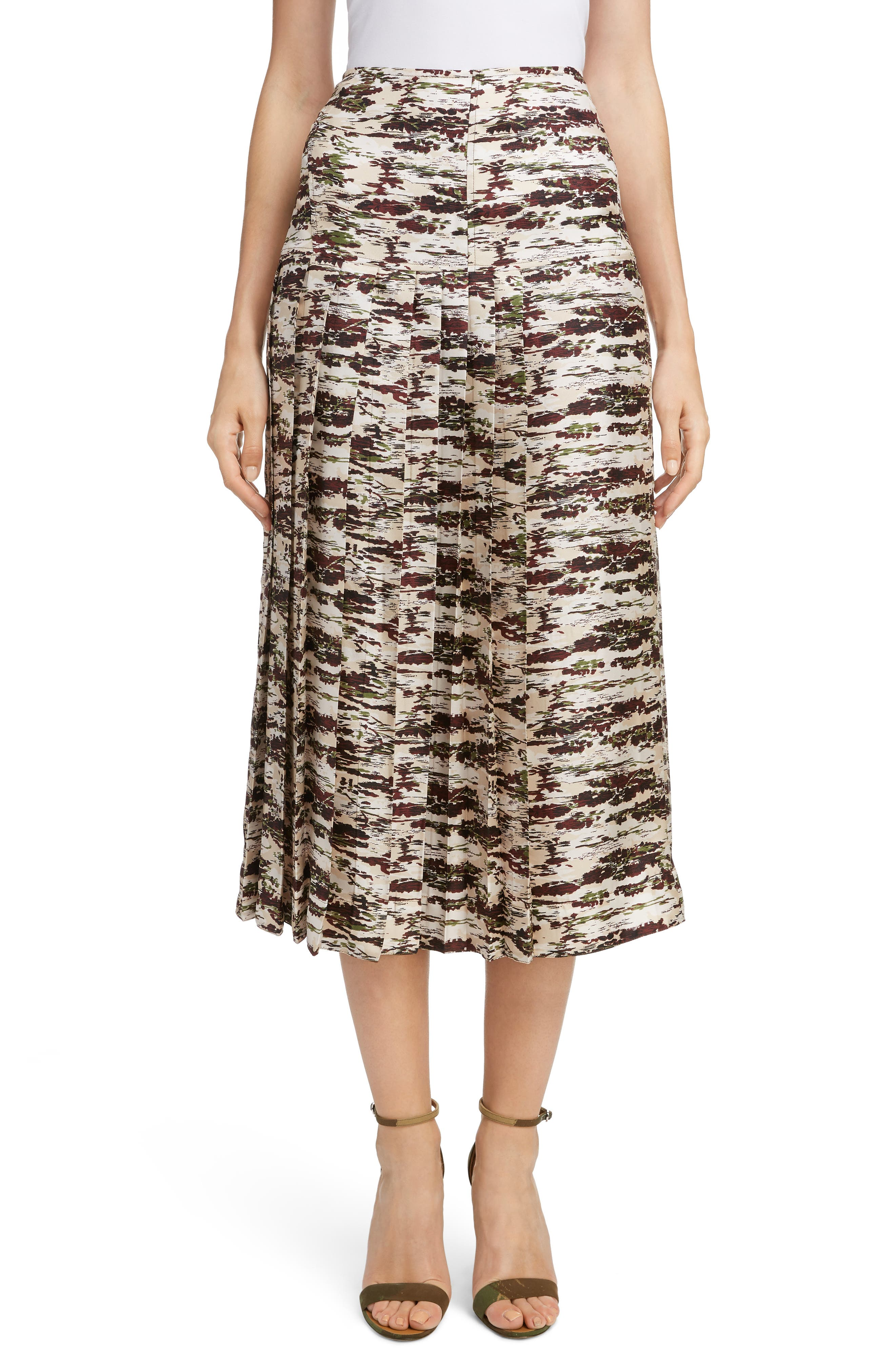 VICTORIA BECKHAM Pleated Silk Midi Skirt, Main, color, BORDEAUX-GREEN