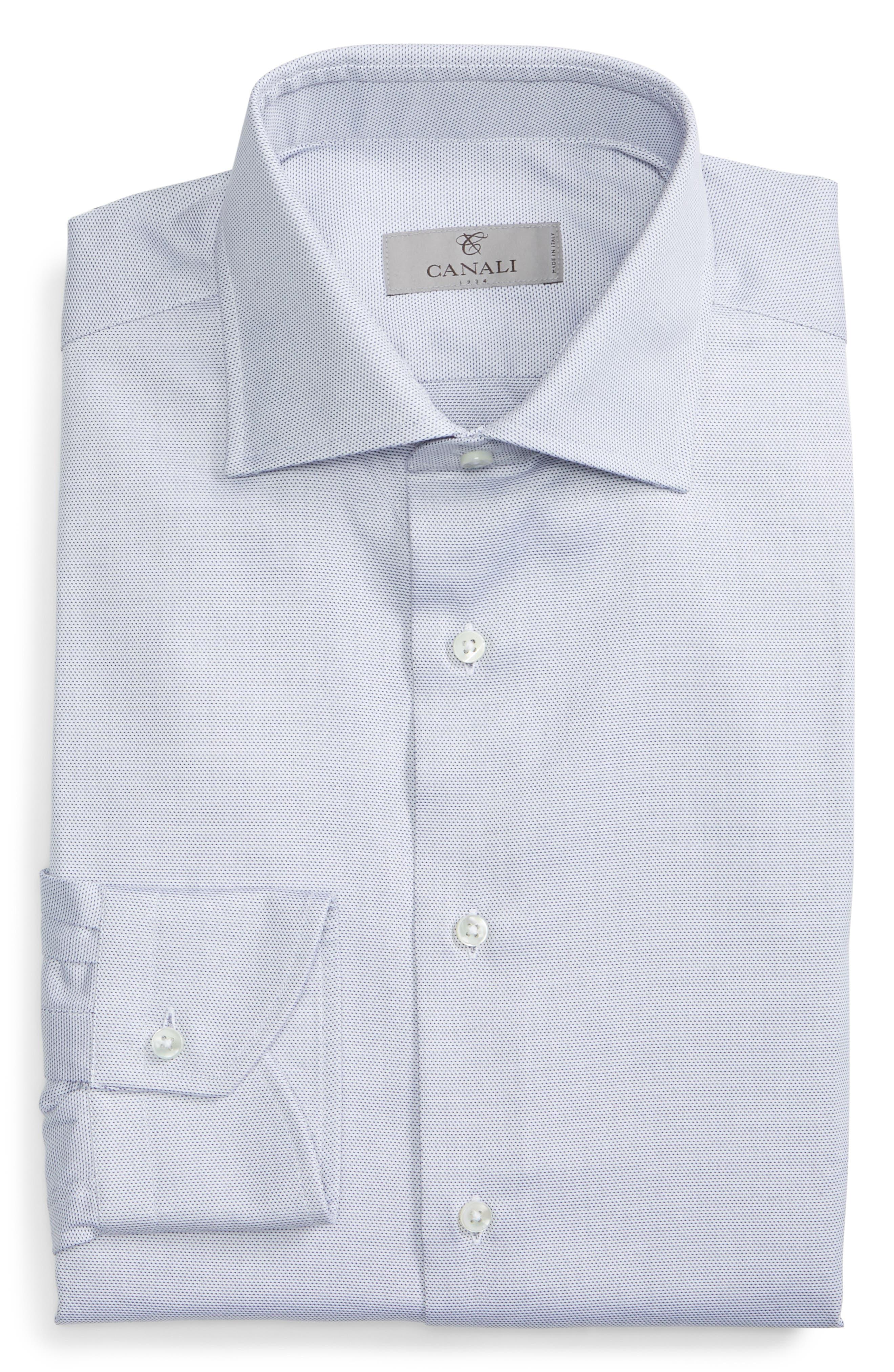 CANALI, Regular Fit Print Dress Shirt, Alternate thumbnail 5, color, GREY