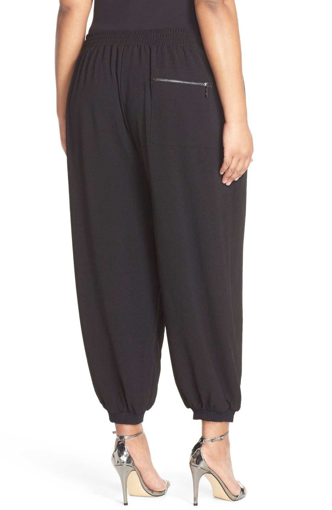 MELISSA MCCARTHY SEVEN7, Zip Pocket Harem Pants, Alternate thumbnail 3, color, 001