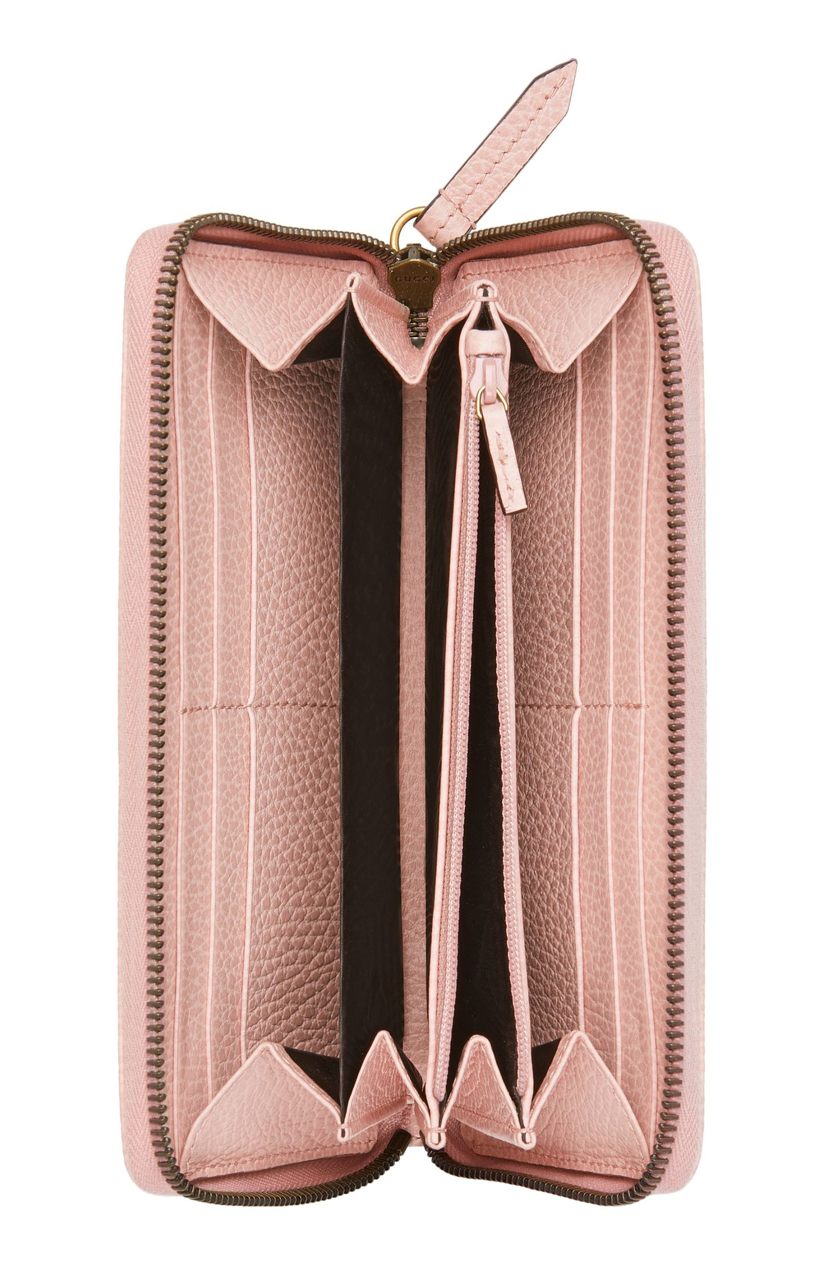 GUCCI, Farfalla Zip Around Leather Wallet, Alternate thumbnail 2, color, PERFECT PINK/ CRYSTAL