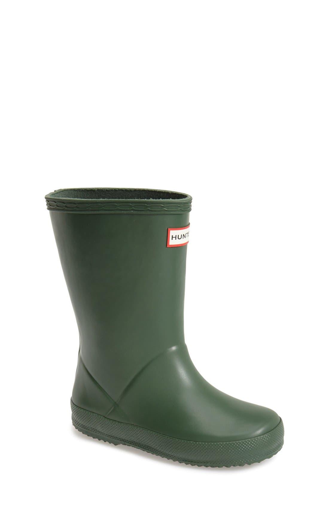 HUNTER, First Classic Waterproof Rain Boot, Main thumbnail 1, color, HUNTER GREEN