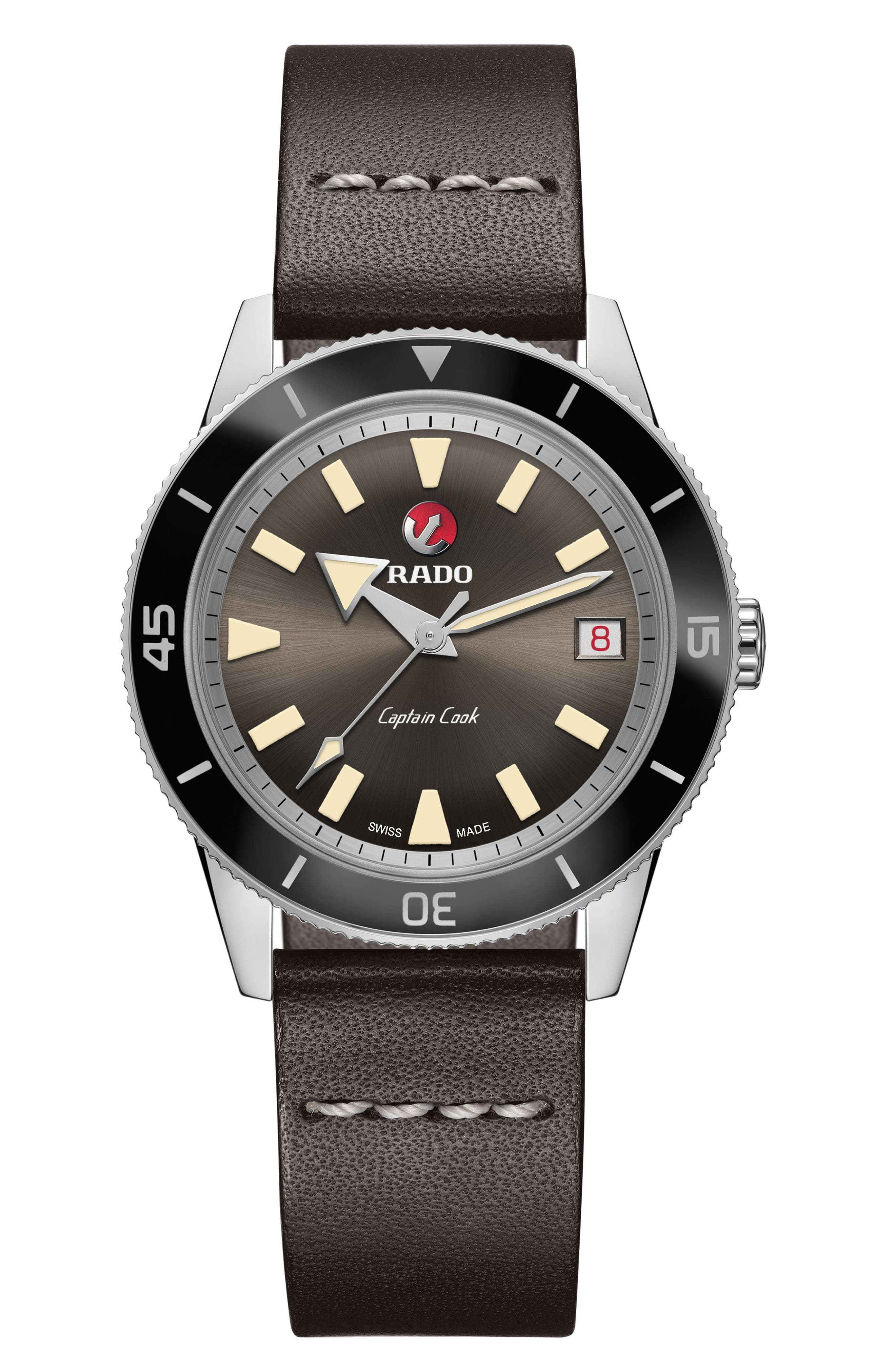 RADO HyperChrome Captain Cook Automatic Leather Strap Watch, 37.3mm, Main, color, BROWN/ SILVER