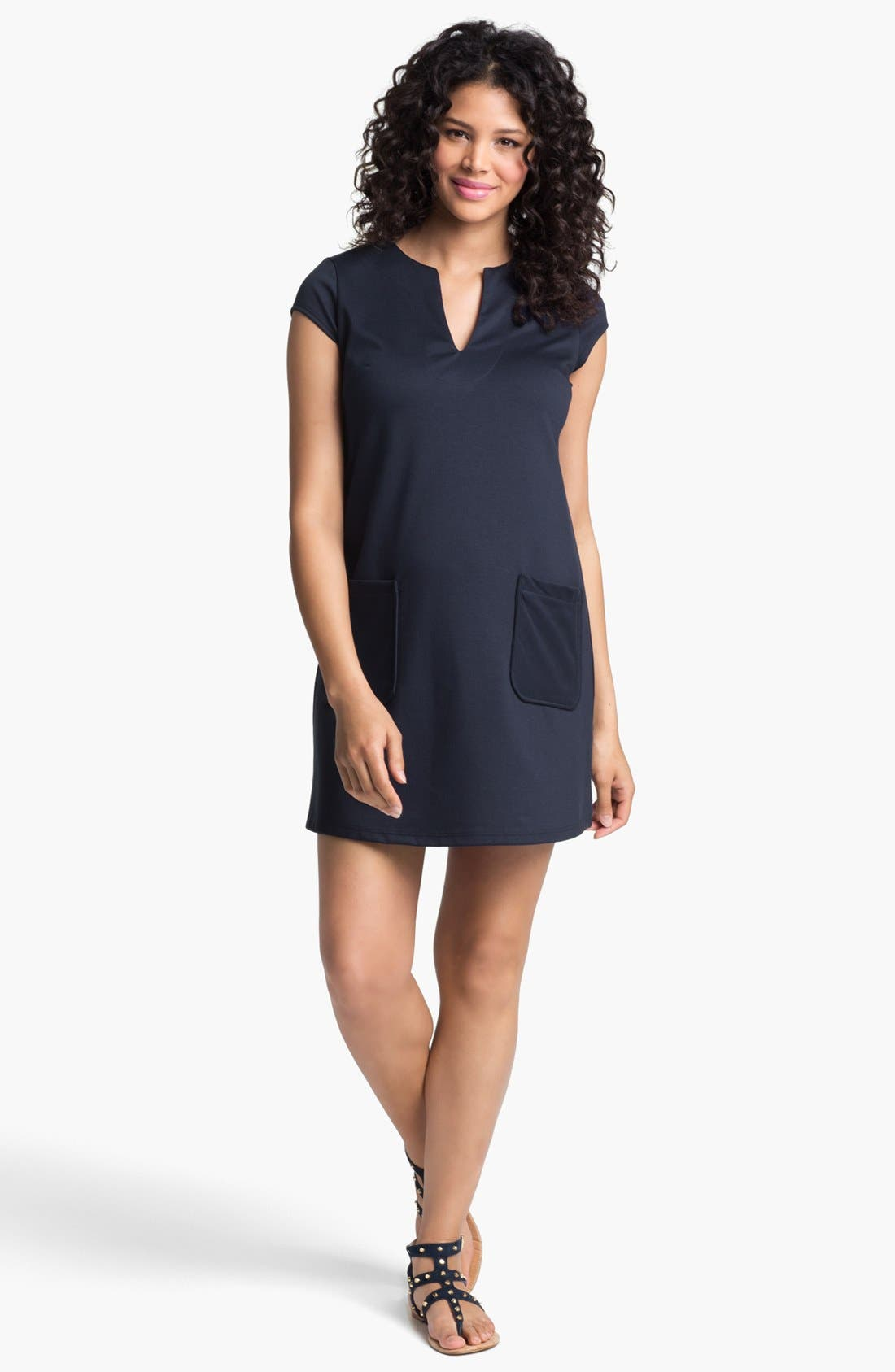 MATERNAL AMERICA Shift Maternity Dress, Main, color, APRICOT TAPESTRY